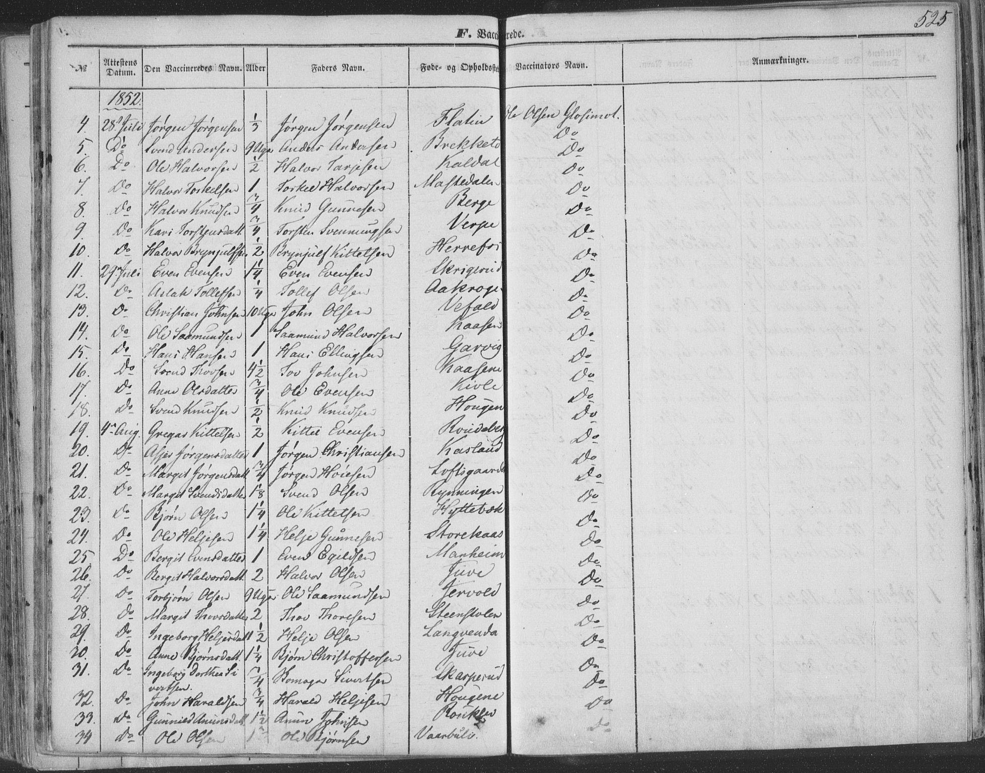 SAKO, Seljord kirkebøker, F/Fa/L012b: Ministerialbok nr. I 12B, 1850-1865, s. 525
