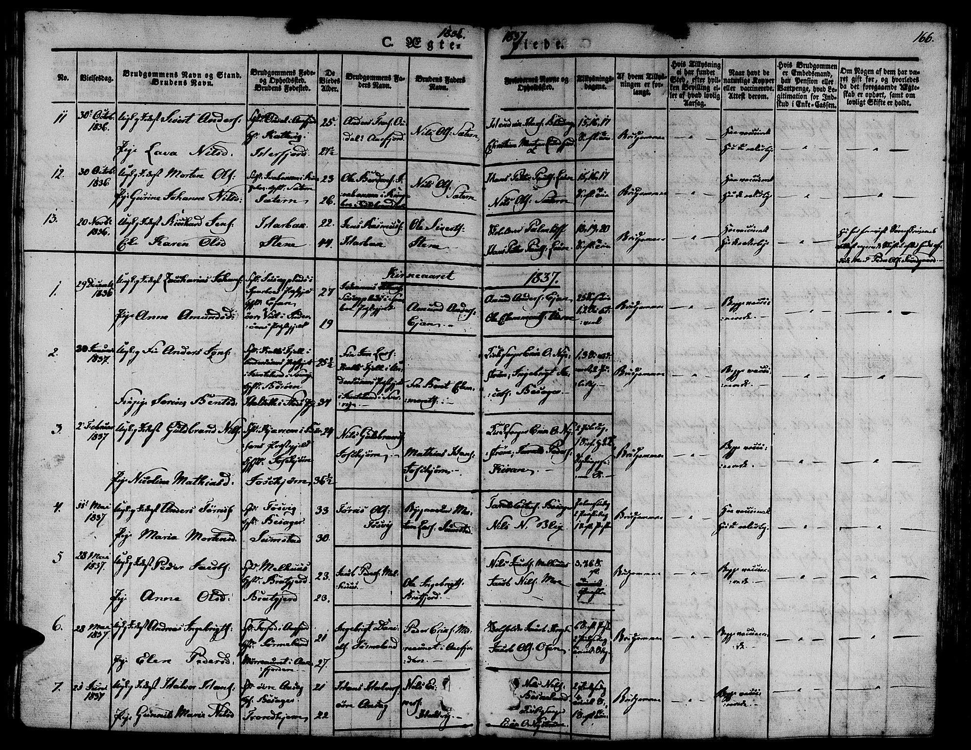 SAT, Ministerialprotokoller, klokkerbøker og fødselsregistre - Sør-Trøndelag, 657/L0703: Ministerialbok nr. 657A04, 1831-1846, s. 166
