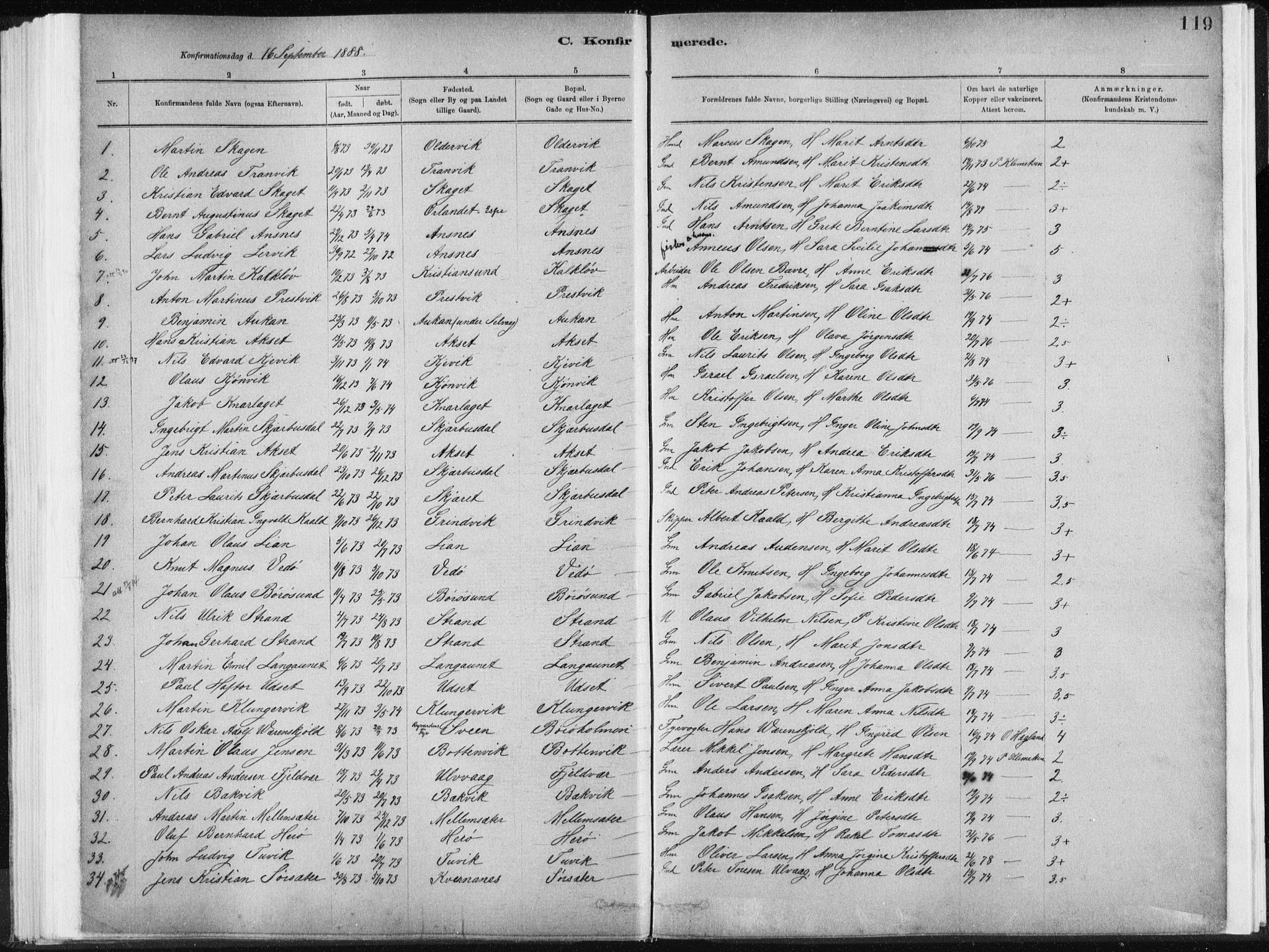 SAT, Ministerialprotokoller, klokkerbøker og fødselsregistre - Sør-Trøndelag, 637/L0558: Ministerialbok nr. 637A01, 1882-1899, s. 119