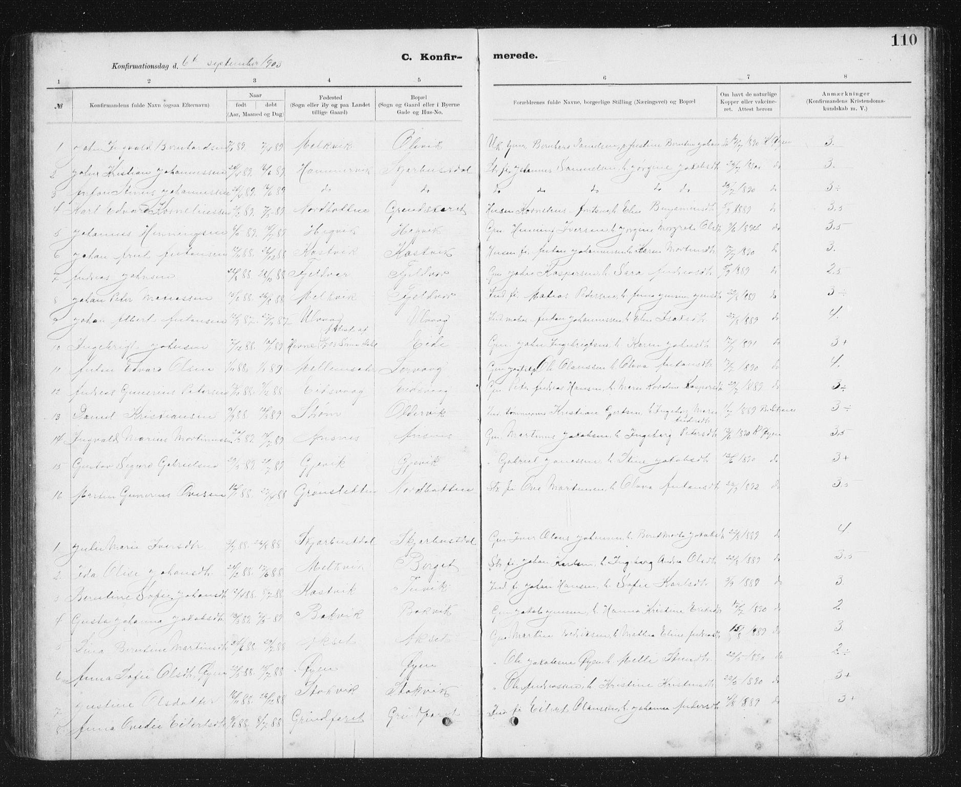 SAT, Ministerialprotokoller, klokkerbøker og fødselsregistre - Sør-Trøndelag, 637/L0563: Klokkerbok nr. 637C04, 1899-1940, s. 110