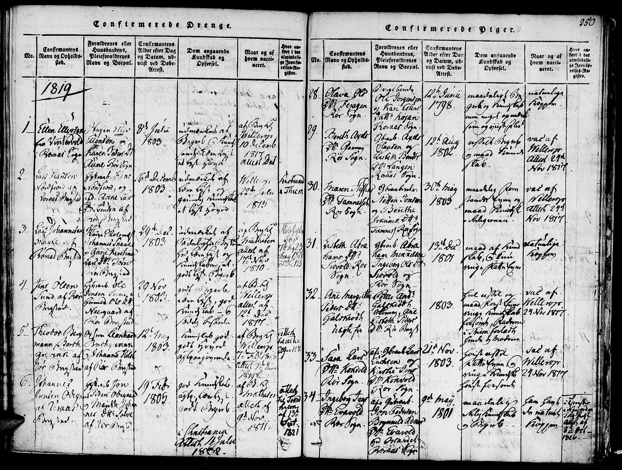 SAT, Ministerialprotokoller, klokkerbøker og fødselsregistre - Sør-Trøndelag, 681/L0929: Ministerialbok nr. 681A07, 1817-1828, s. 250