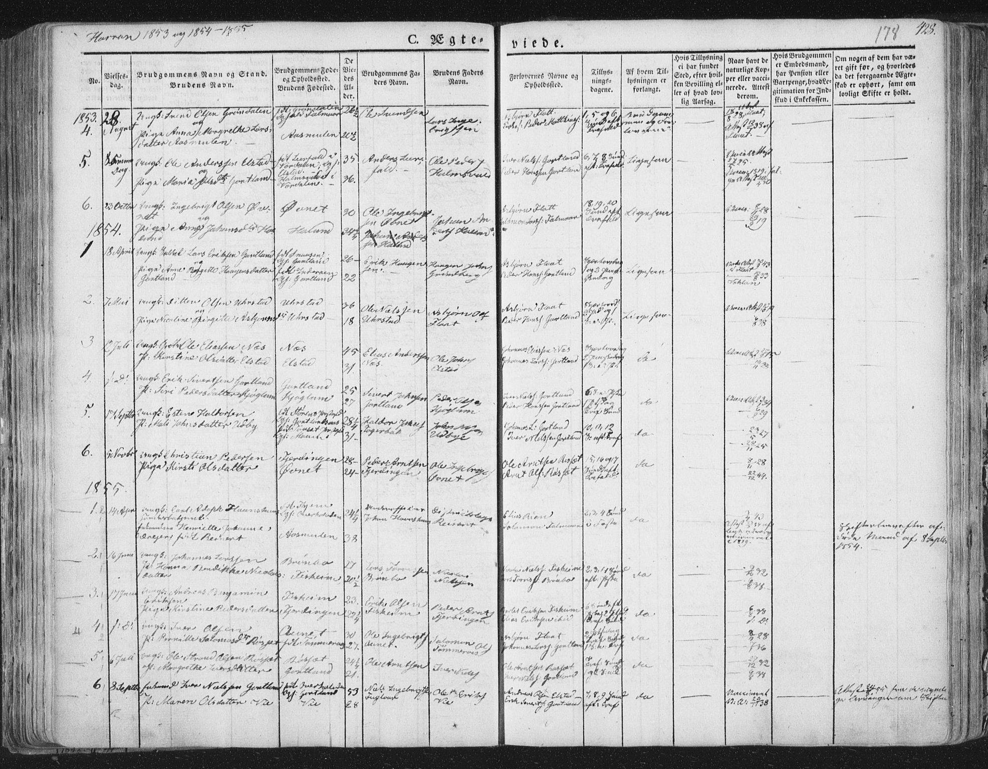 SAT, Ministerialprotokoller, klokkerbøker og fødselsregistre - Nord-Trøndelag, 758/L0513: Ministerialbok nr. 758A02 /3, 1839-1868, s. 178