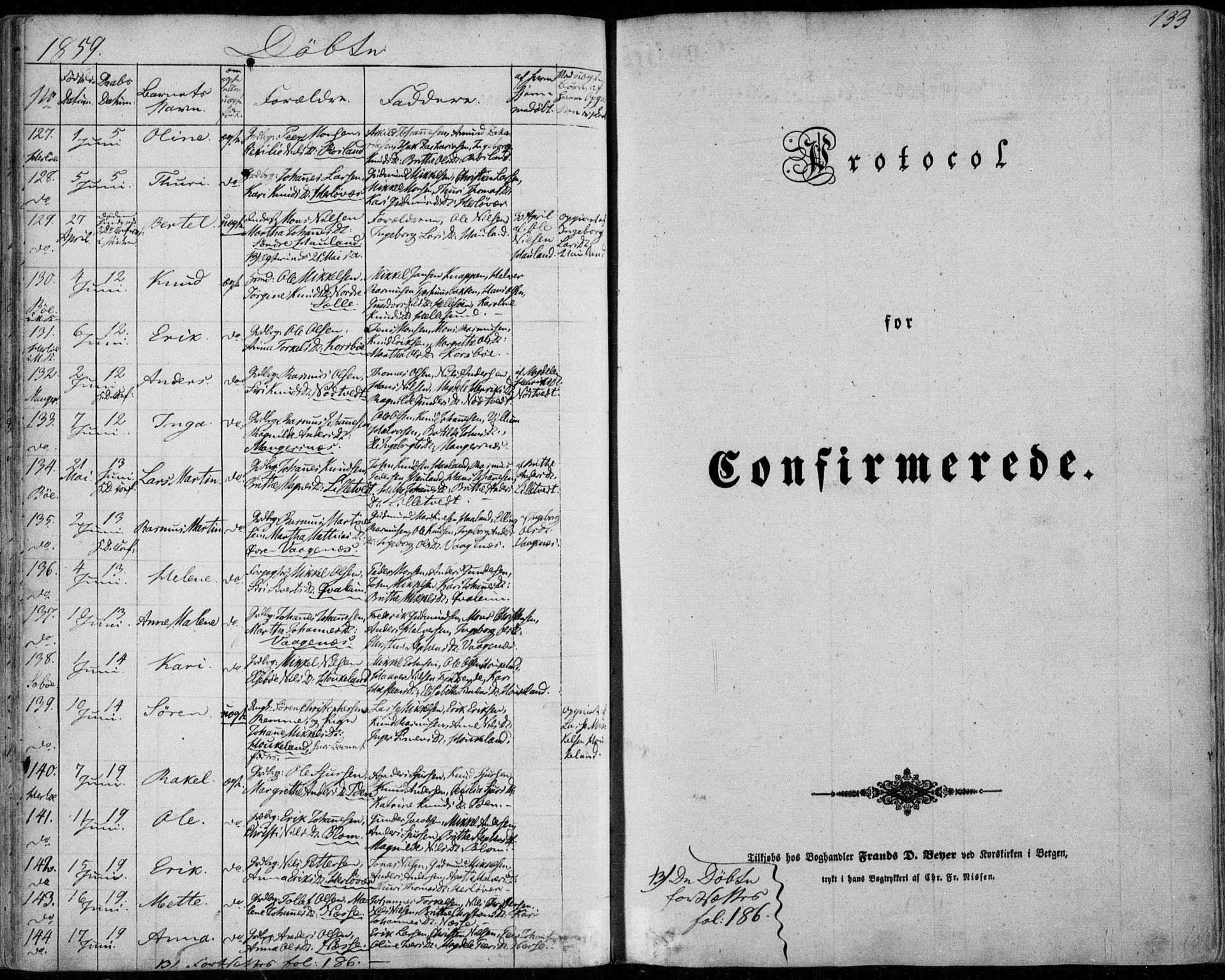 SAB, Manger sokneprestembete, H/Haa: Ministerialbok nr. A 6, 1849-1859, s. 133