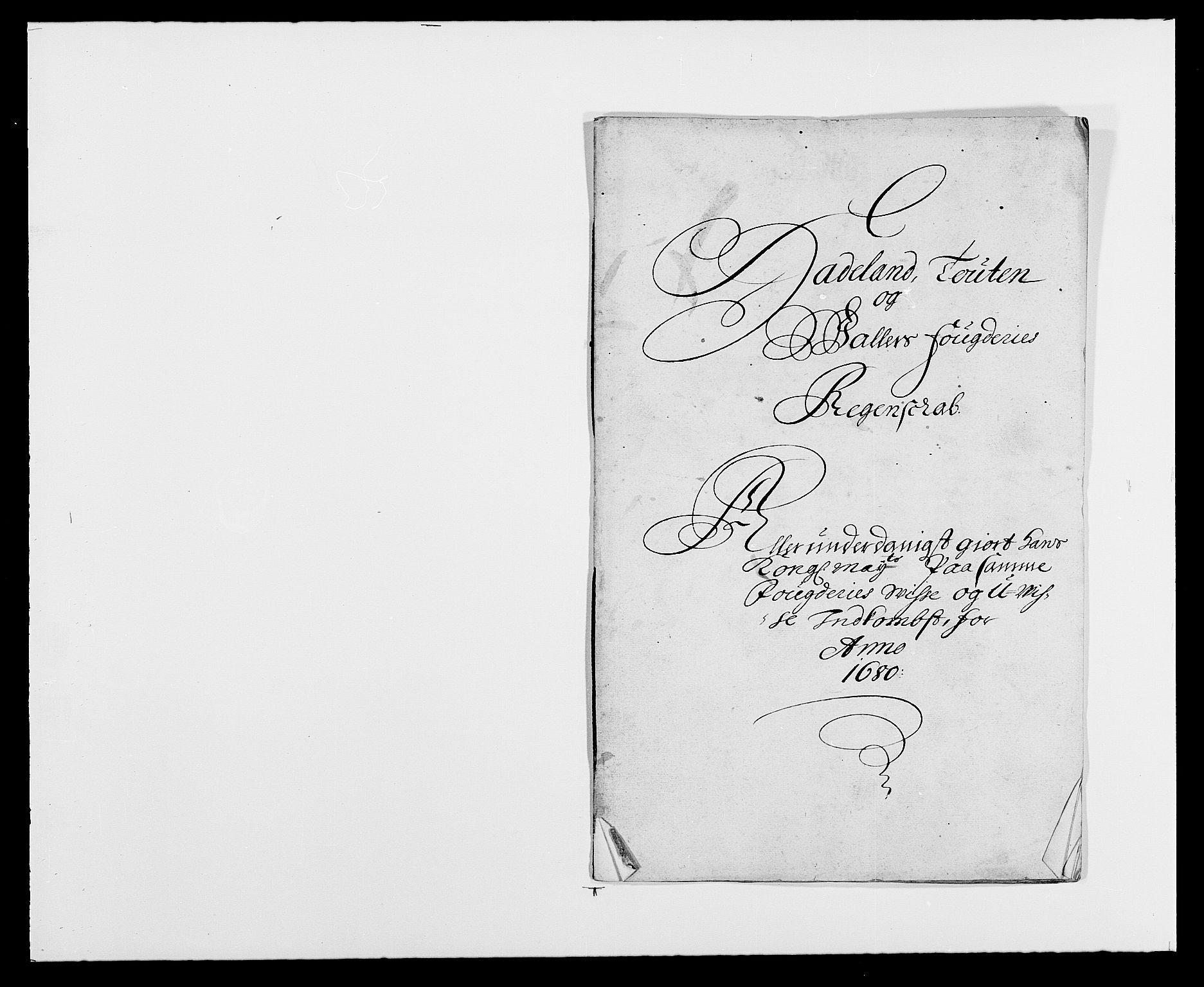 RA, Rentekammeret inntil 1814, Reviderte regnskaper, Fogderegnskap, R18/L1275: Fogderegnskap Hadeland, Toten og Valdres, 1680, s. 1