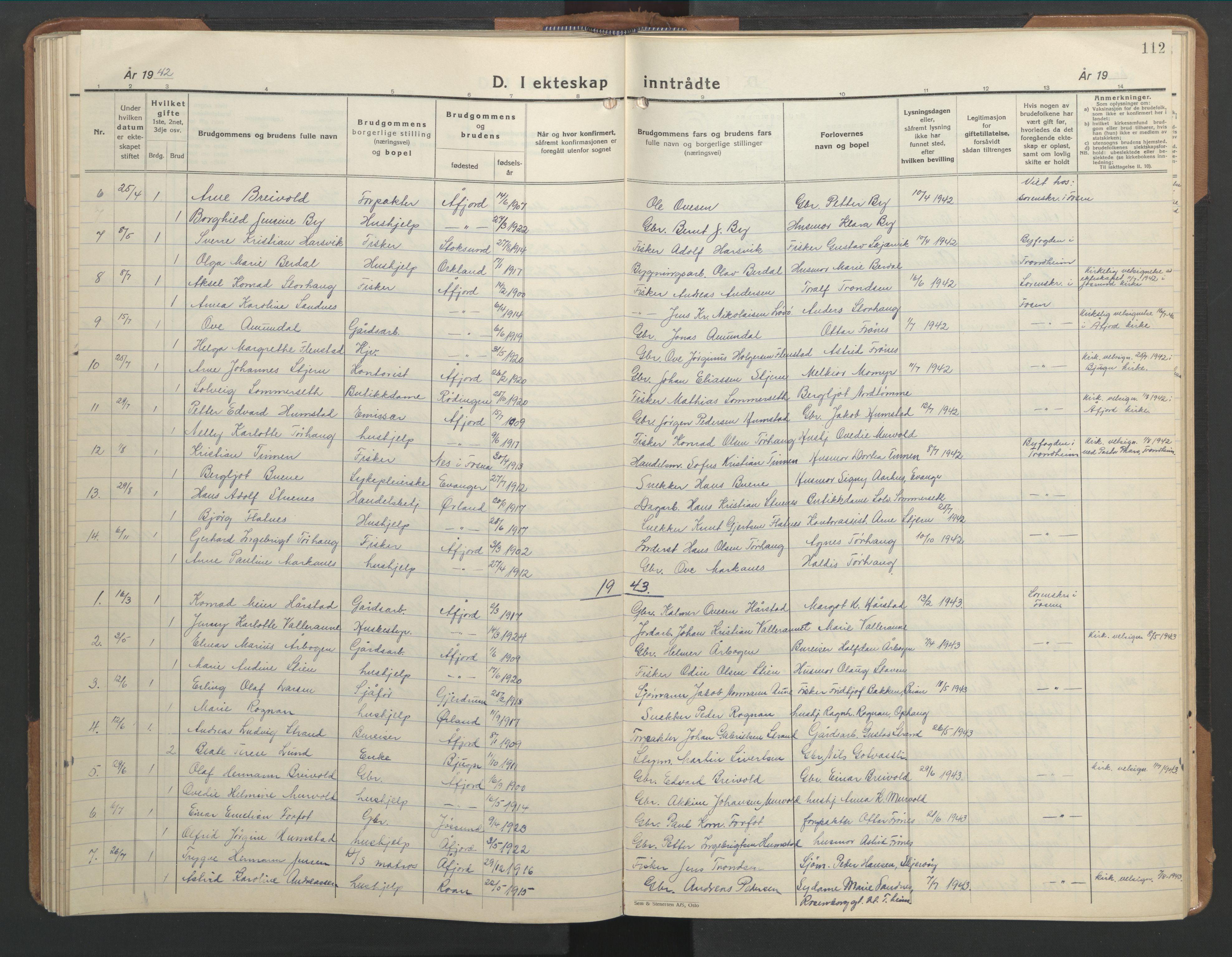 SAT, Ministerialprotokoller, klokkerbøker og fødselsregistre - Sør-Trøndelag, 655/L0690: Klokkerbok nr. 655C06, 1937-1950, s. 112