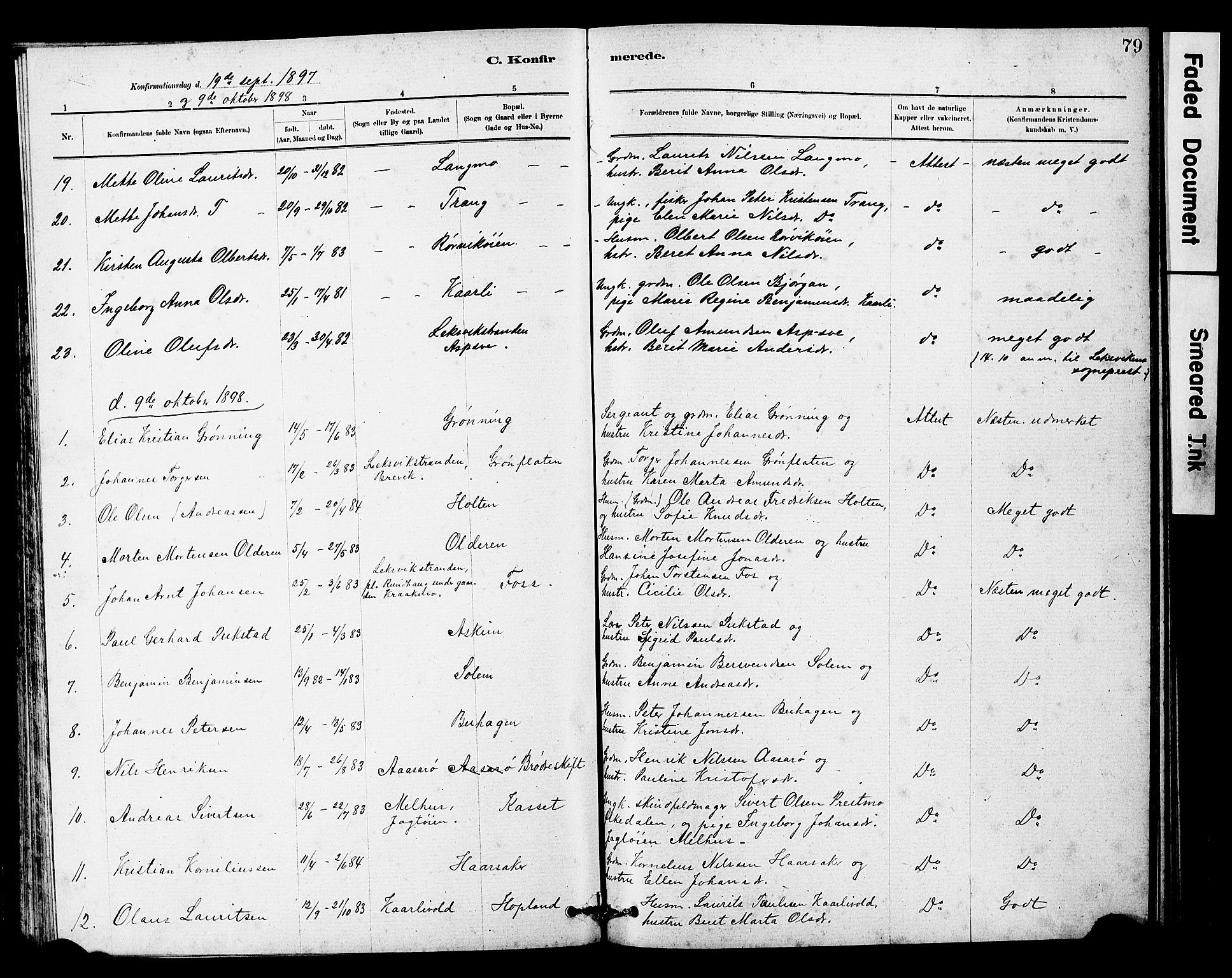 SAT, Ministerialprotokoller, klokkerbøker og fødselsregistre - Sør-Trøndelag, 646/L0628: Klokkerbok nr. 646C01, 1880-1903, s. 79