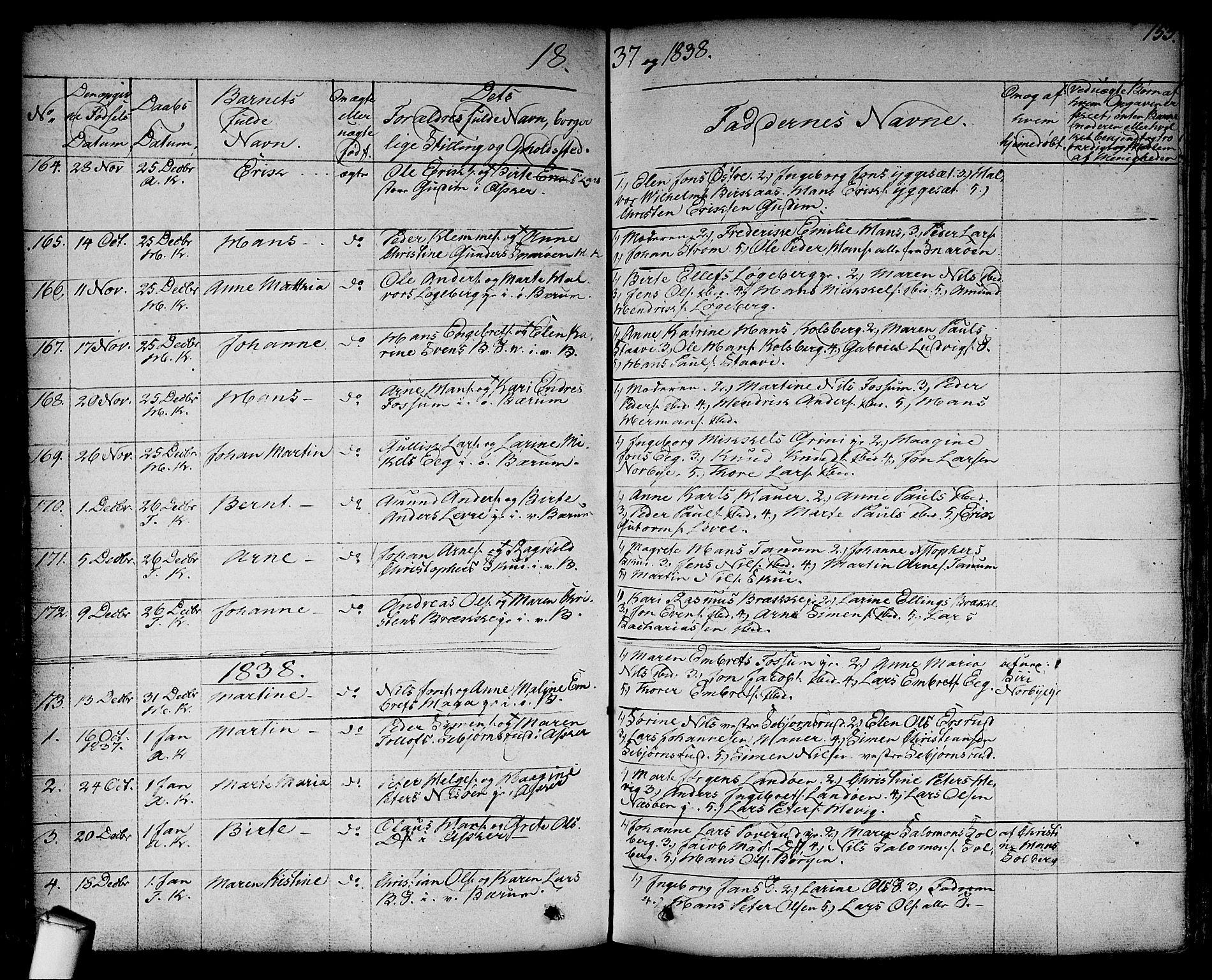 SAO, Asker prestekontor Kirkebøker, F/Fa/L0007: Ministerialbok nr. I 7, 1825-1864, s. 153