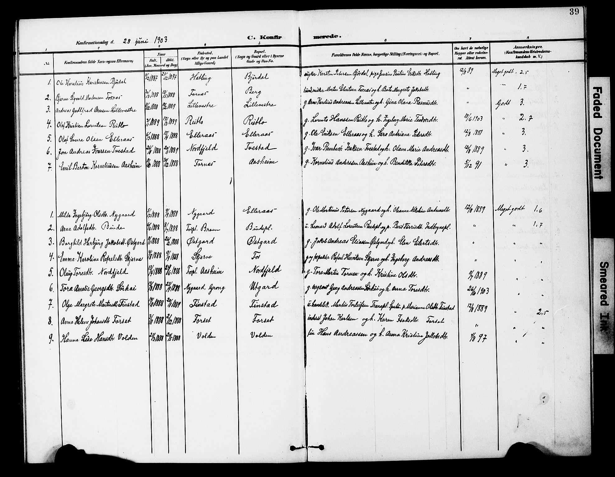 SAT, Ministerialprotokoller, klokkerbøker og fødselsregistre - Nord-Trøndelag, 746/L0452: Ministerialbok nr. 746A09, 1900-1908, s. 39