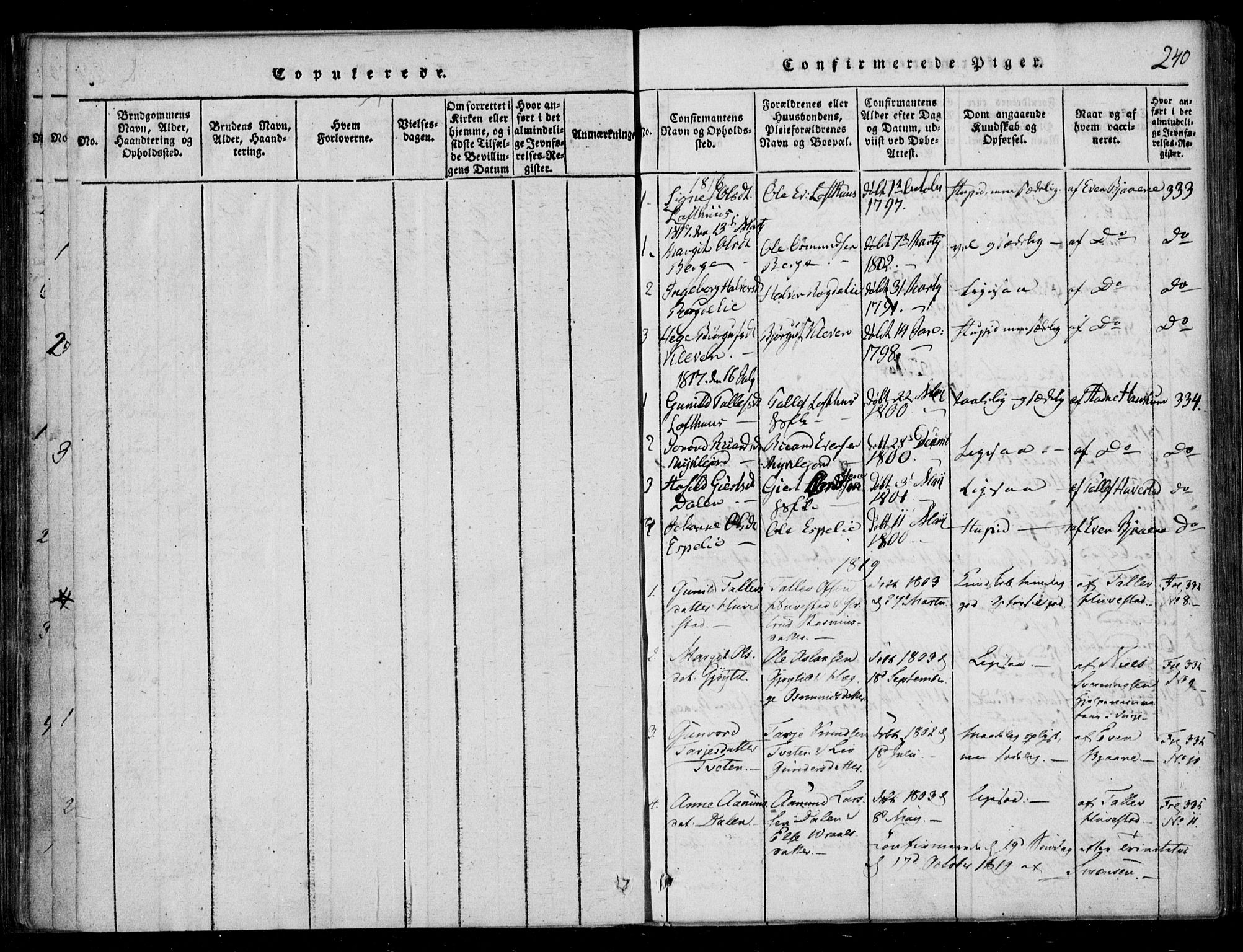 SAKO, Lårdal kirkebøker, F/Fb/L0001: Ministerialbok nr. II 1, 1815-1860, s. 240