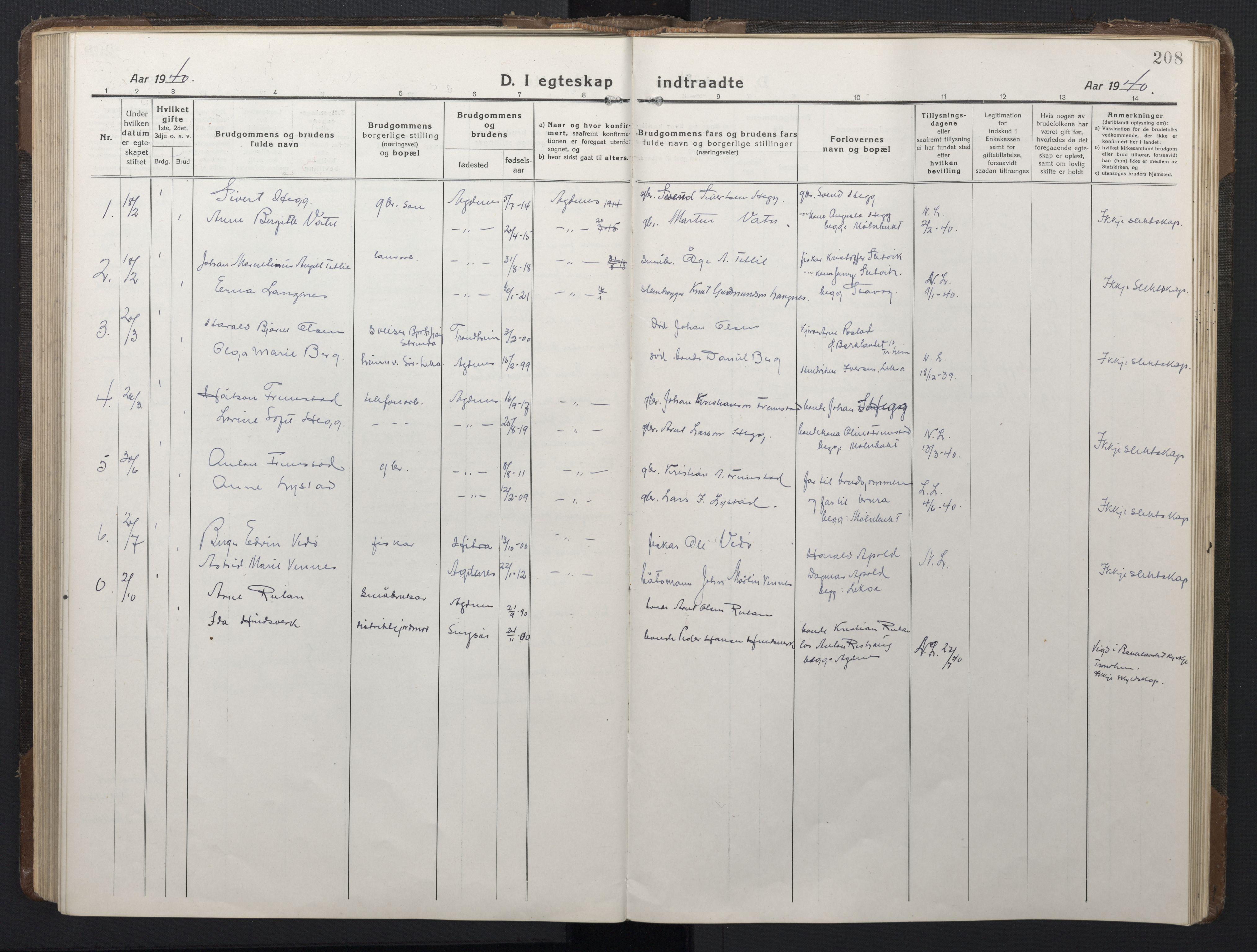SAT, Ministerialprotokoller, klokkerbøker og fødselsregistre - Sør-Trøndelag, 662/L0758: Klokkerbok nr. 662C03, 1918-1948, s. 208