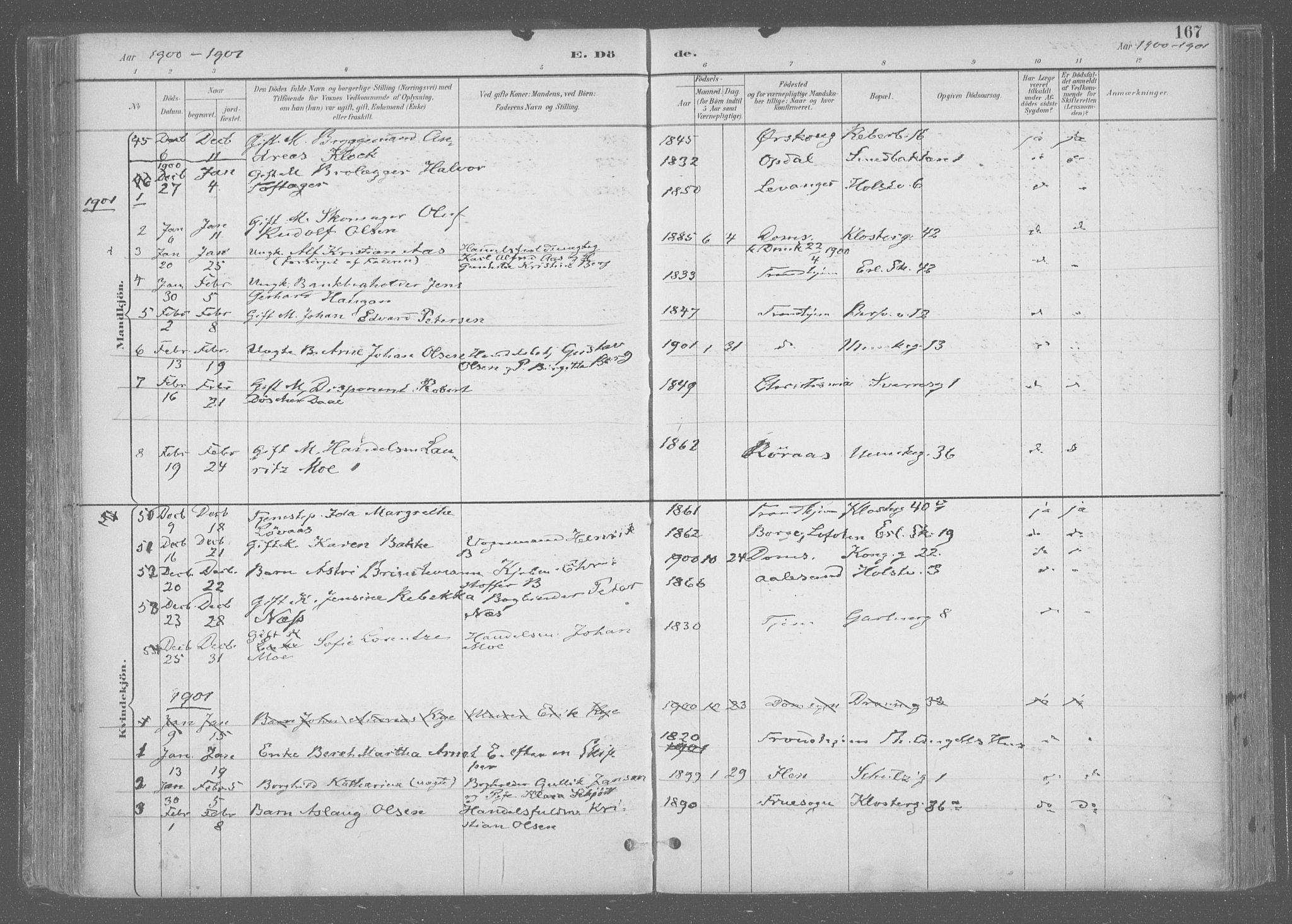 SAT, Ministerialprotokoller, klokkerbøker og fødselsregistre - Sør-Trøndelag, 601/L0064: Ministerialbok nr. 601A31, 1891-1911, s. 167