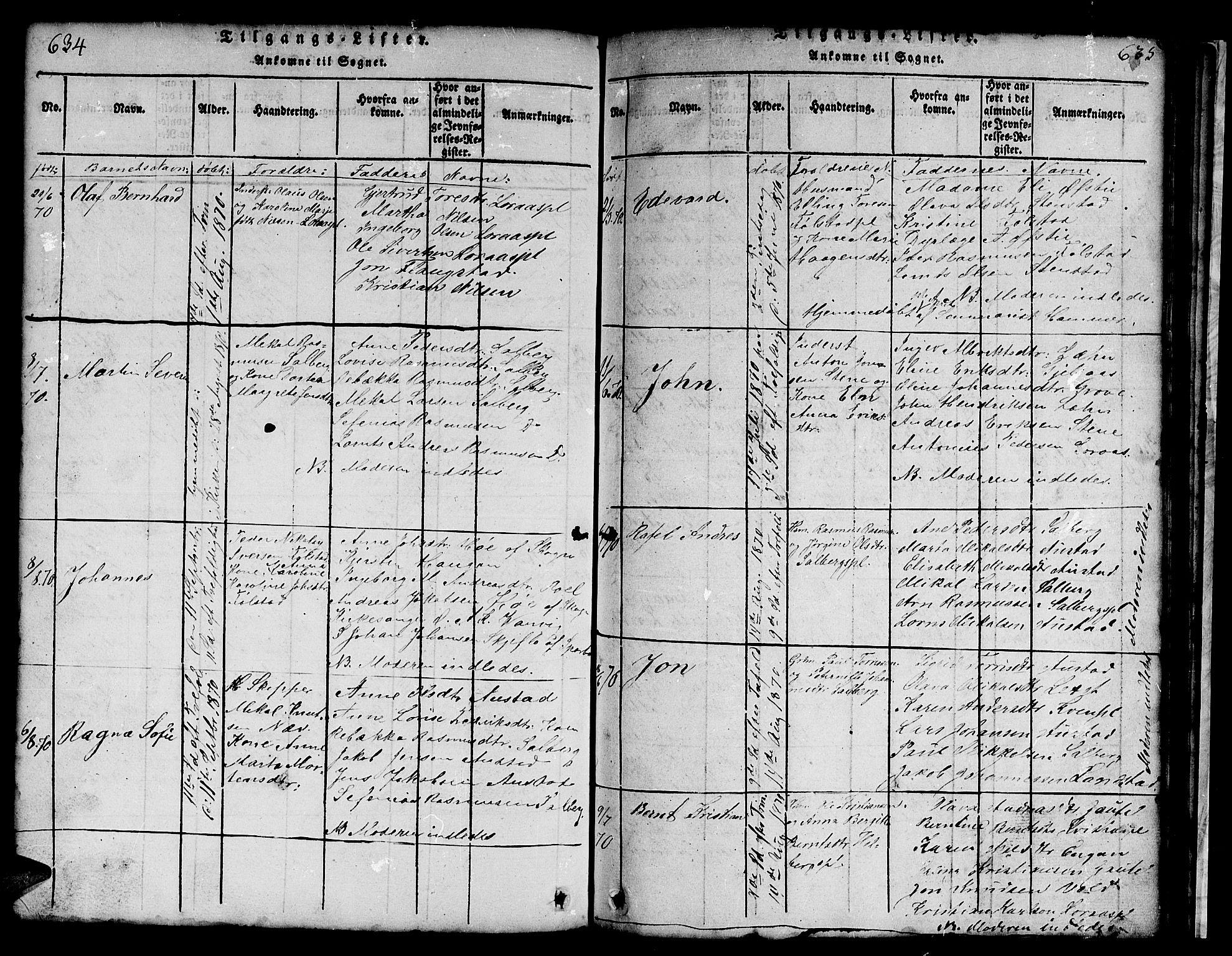 SAT, Ministerialprotokoller, klokkerbøker og fødselsregistre - Nord-Trøndelag, 731/L0310: Klokkerbok nr. 731C01, 1816-1874, s. 634-635