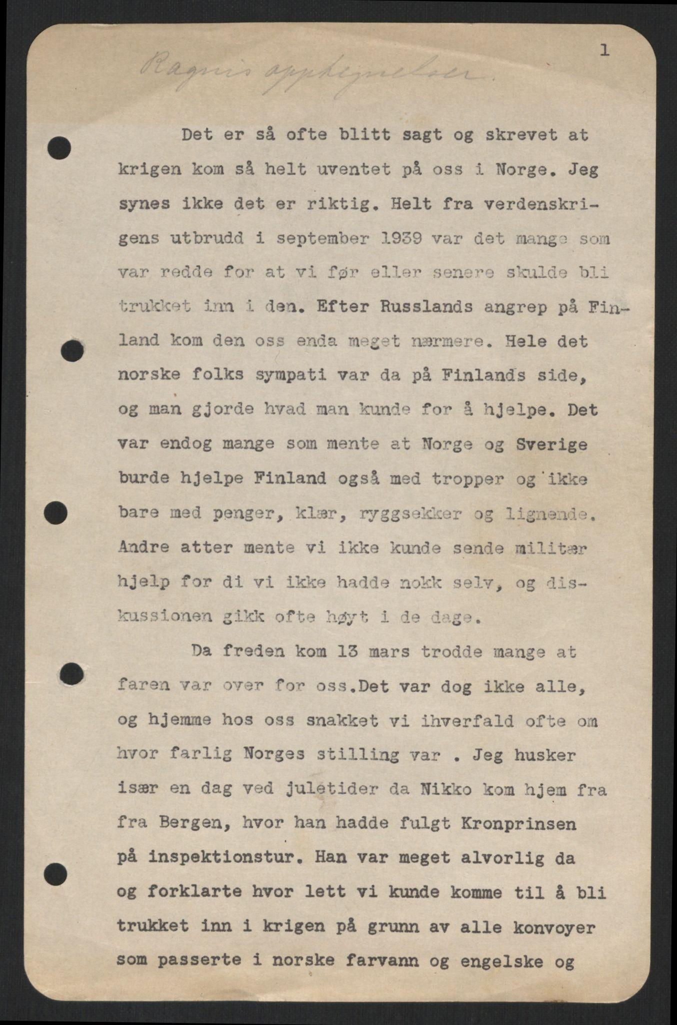 RA, Østgaard, Nikolai Ramm og Ragni, E/Ea/L0001: Kongefamilien under 2. verdenskrig, 1940-1945