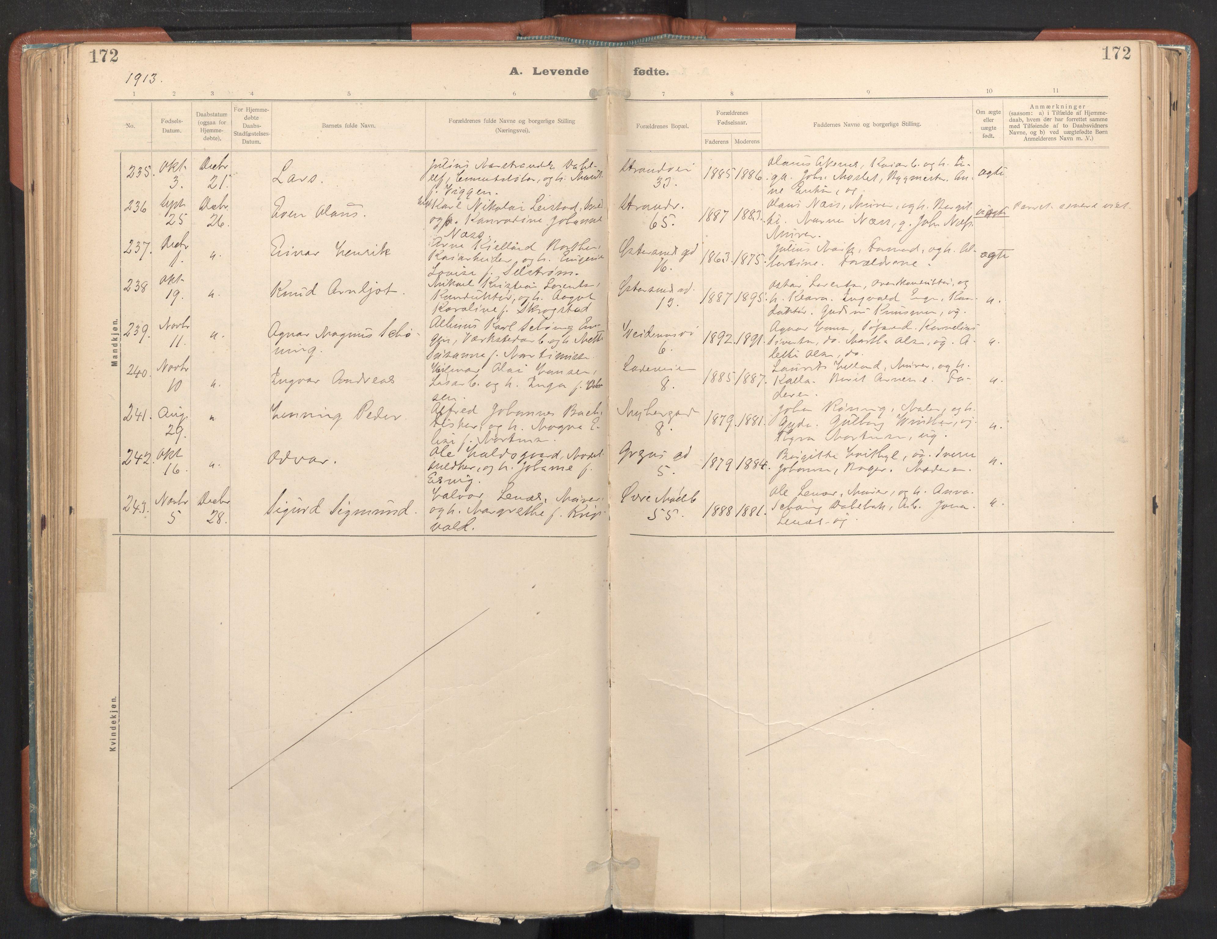 SAT, Ministerialprotokoller, klokkerbøker og fødselsregistre - Sør-Trøndelag, 605/L0243: Ministerialbok nr. 605A05, 1908-1923, s. 172