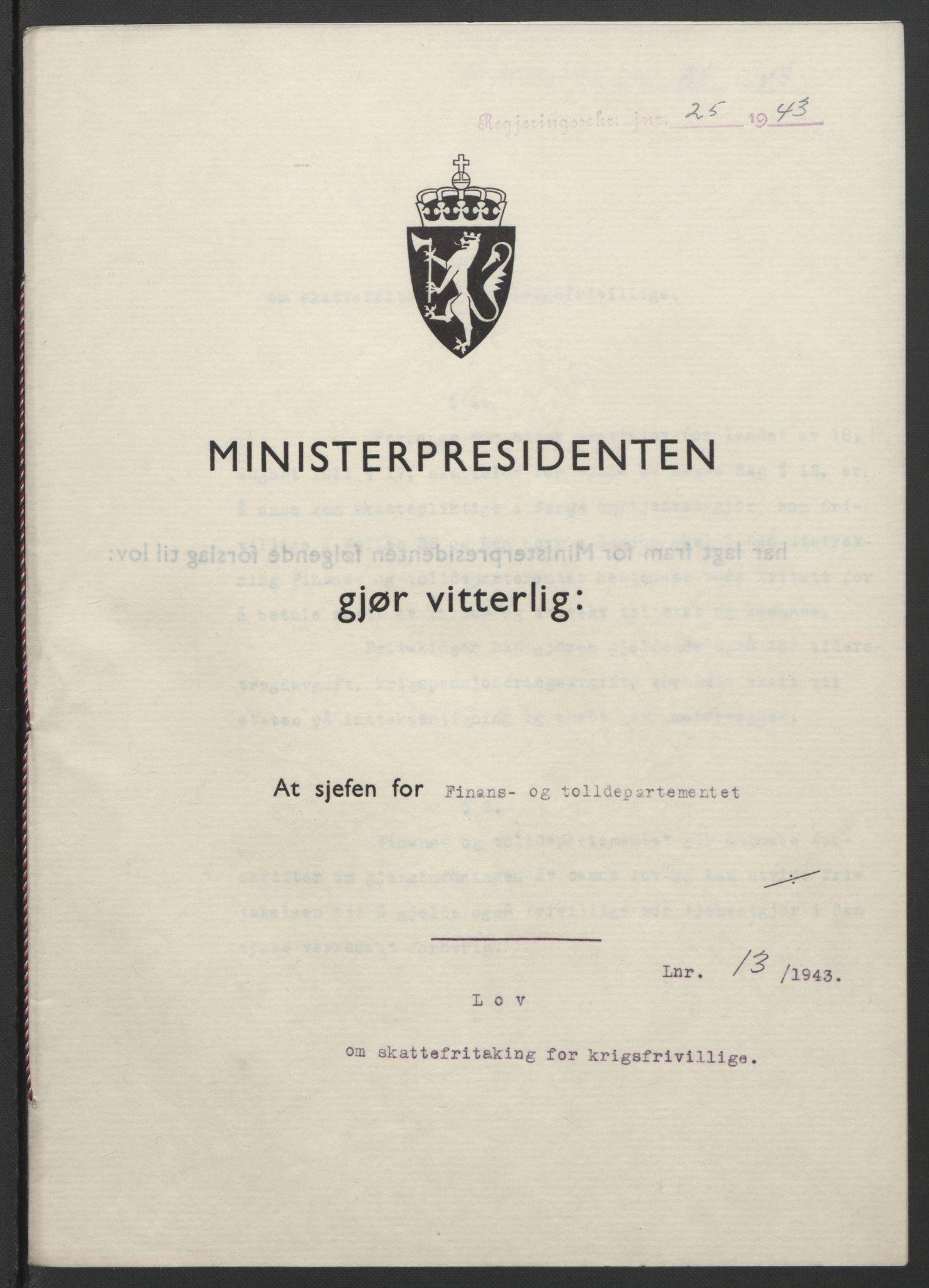 RA, NS-administrasjonen 1940-1945 (Statsrådsekretariatet, de kommisariske statsråder mm), D/Db/L0099: Lover, 1943, s. 52