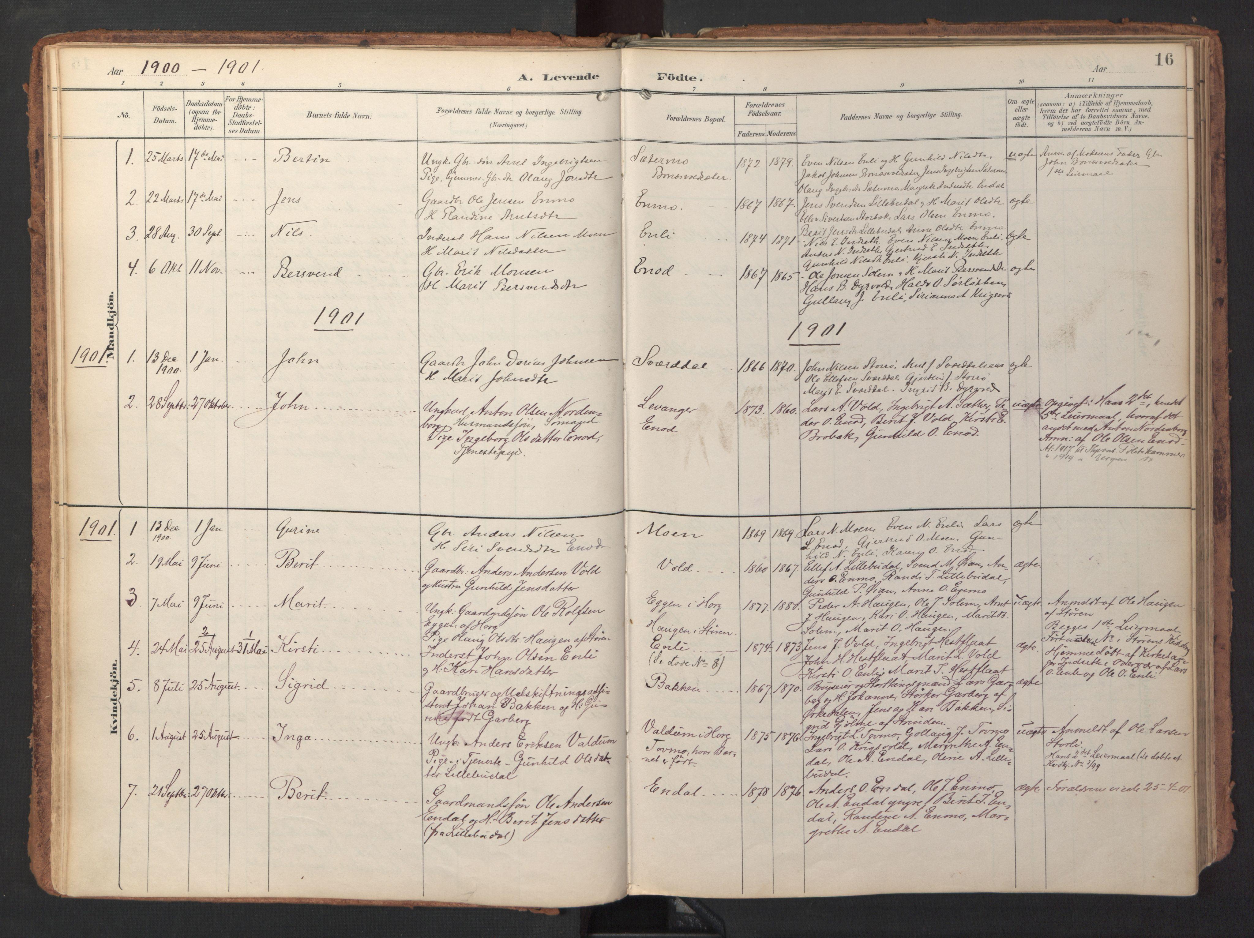 SAT, Ministerialprotokoller, klokkerbøker og fødselsregistre - Sør-Trøndelag, 690/L1050: Ministerialbok nr. 690A01, 1889-1929, s. 16