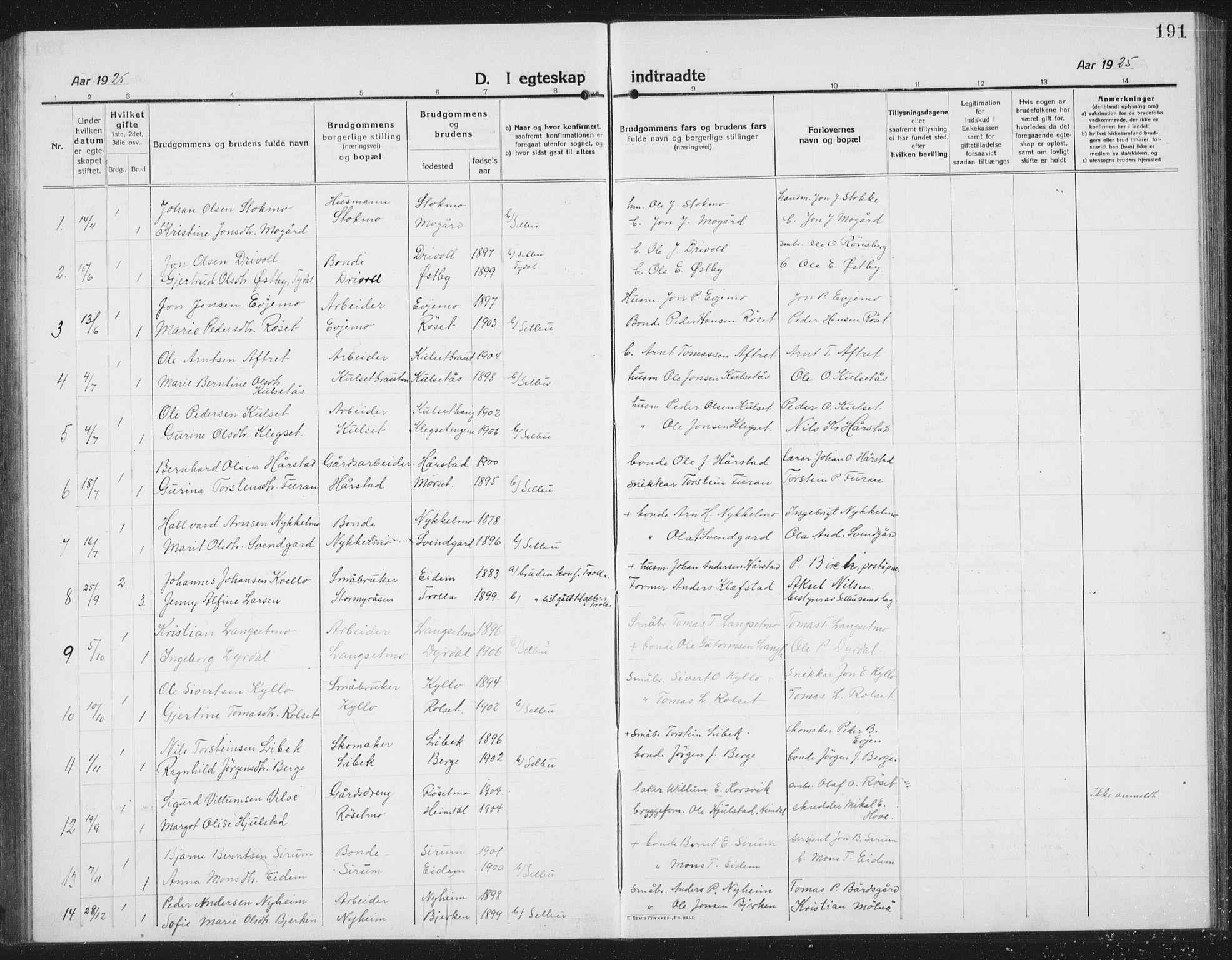 SAT, Ministerialprotokoller, klokkerbøker og fødselsregistre - Sør-Trøndelag, 695/L1158: Klokkerbok nr. 695C09, 1913-1940, s. 191