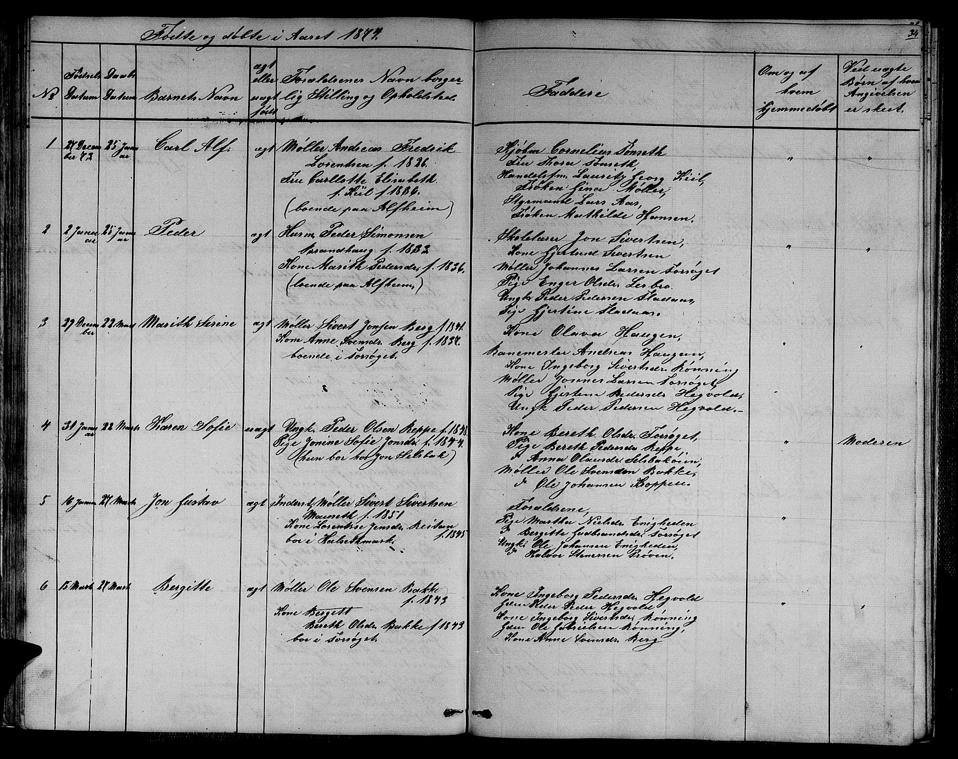 SAT, Ministerialprotokoller, klokkerbøker og fødselsregistre - Sør-Trøndelag, 611/L0353: Klokkerbok nr. 611C01, 1854-1881, s. 34