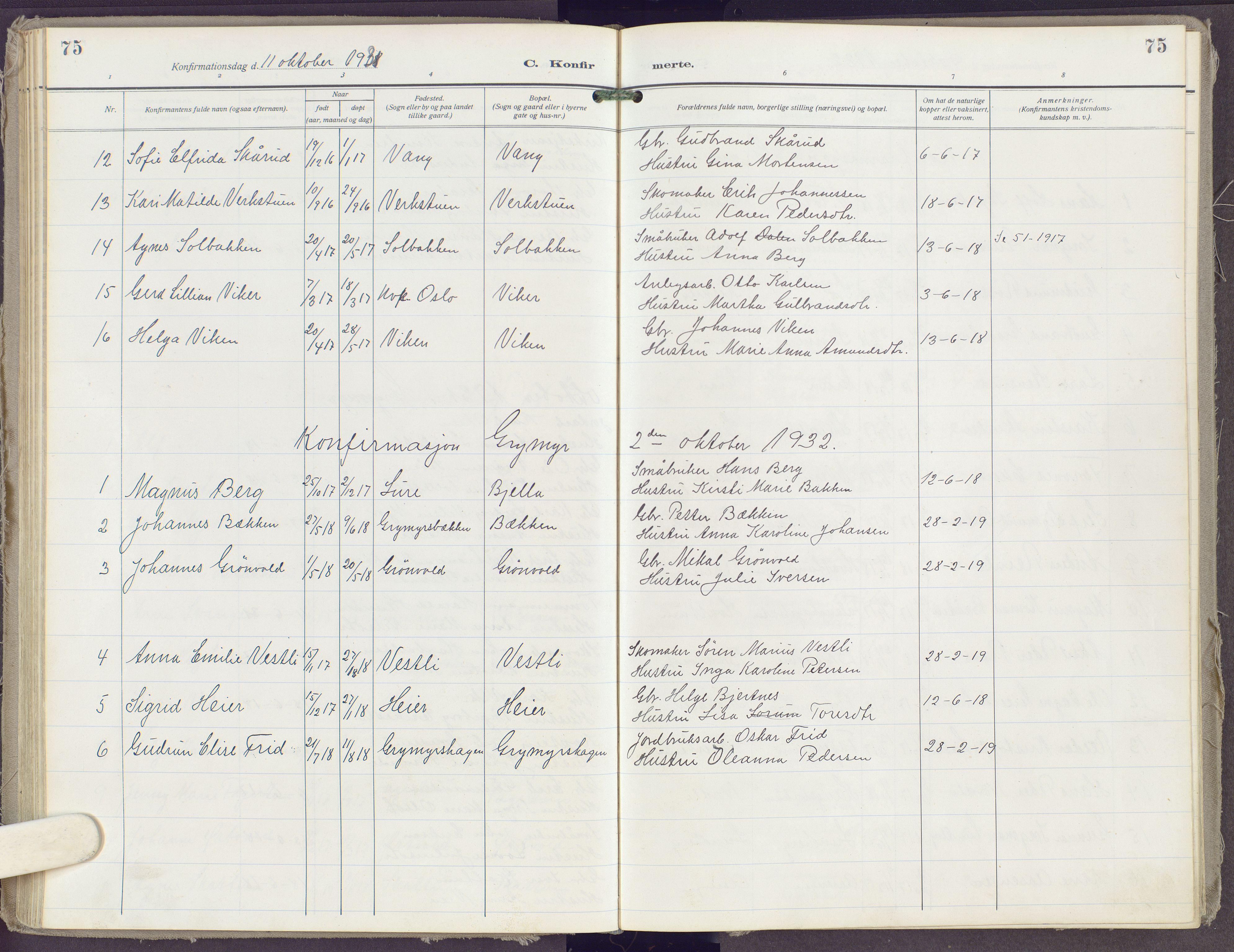 SAH, Gran prestekontor, Ministerialbok nr. 23, 1919-1938, s. 75