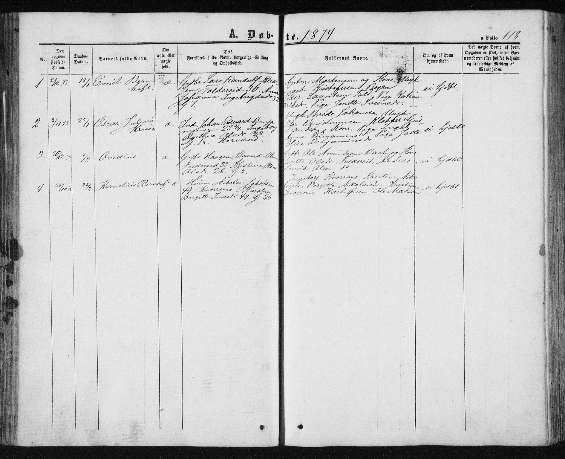 SAT, Ministerialprotokoller, klokkerbøker og fødselsregistre - Nord-Trøndelag, 780/L0641: Ministerialbok nr. 780A06, 1857-1874, s. 118
