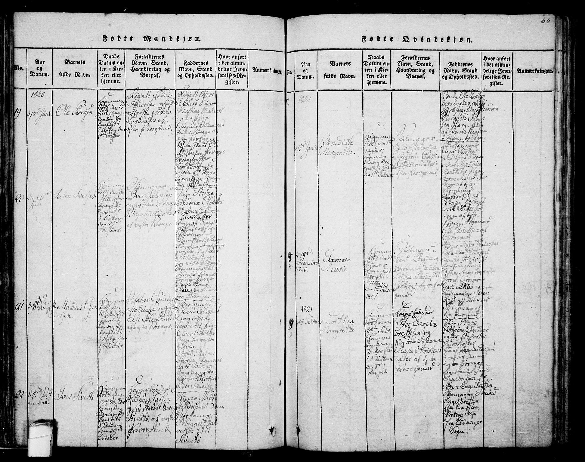 SAKO, Porsgrunn kirkebøker , F/Fa/L0004: Ministerialbok nr. 4, 1814-1828, s. 66