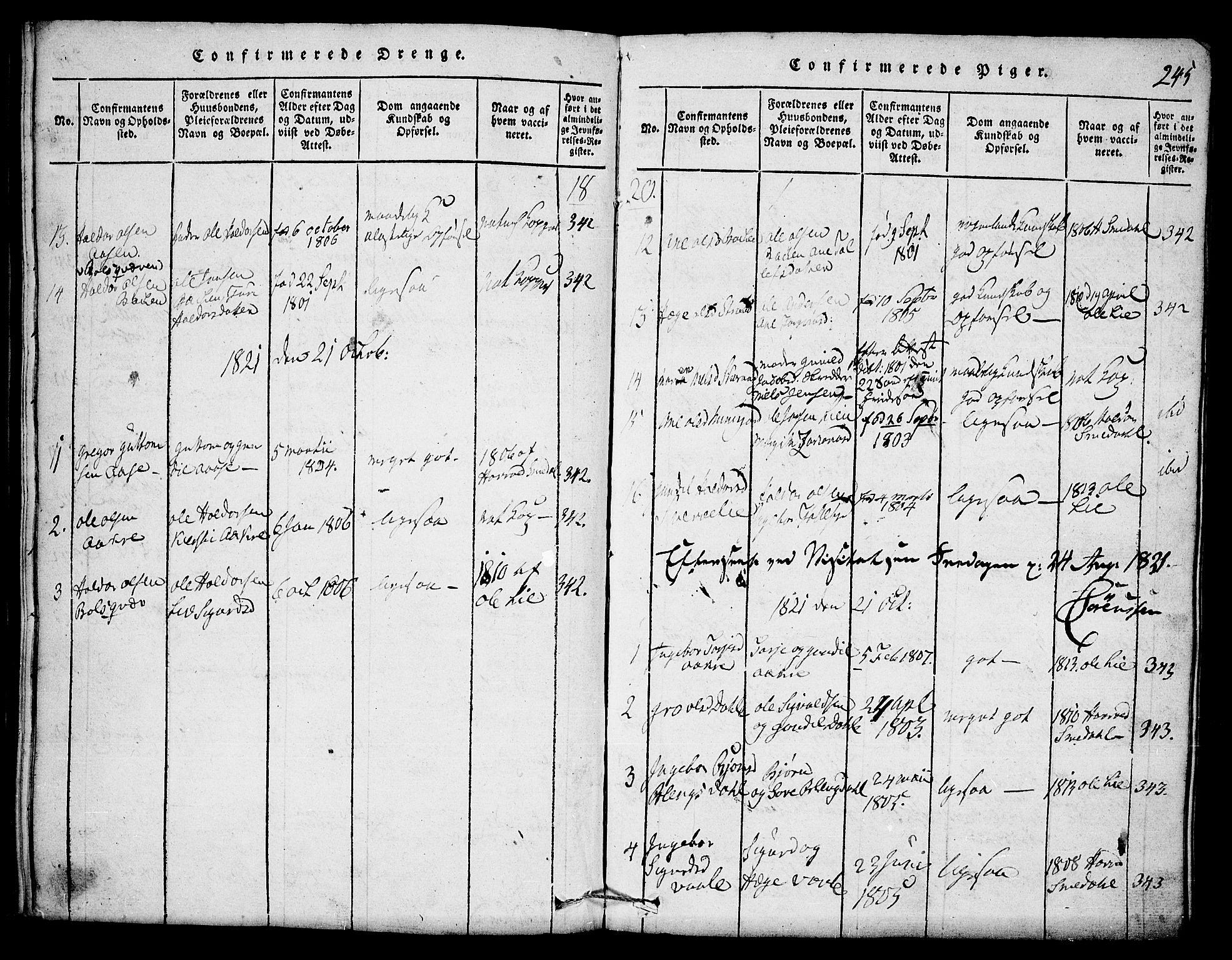 SAKO, Seljord kirkebøker, F/Fb/L0001: Ministerialbok nr. II 1, 1815-1831, s. 245