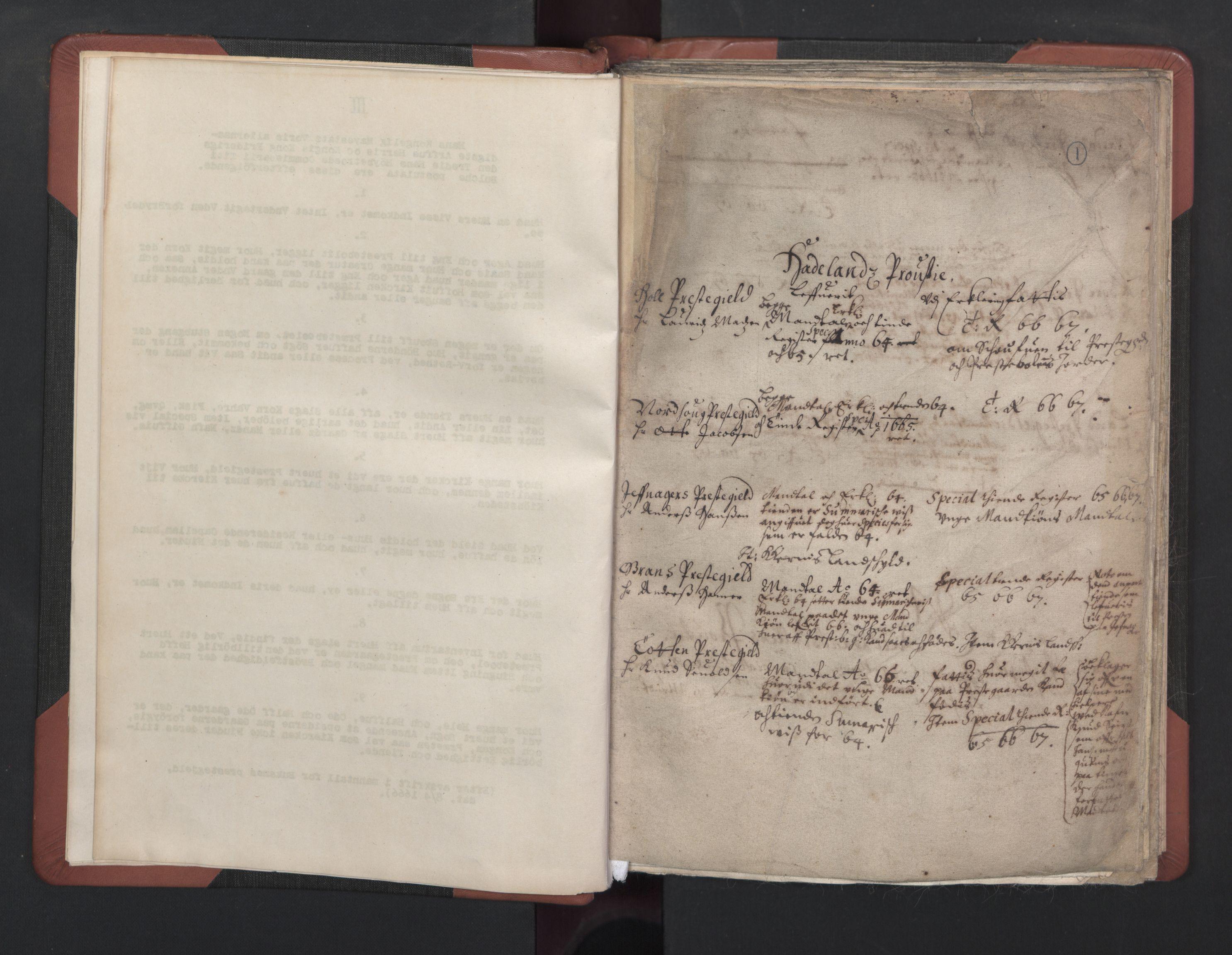 RA, Manntall 1664-1666, nr. 37: Titus Bülches og andres bemerkninger til manntallene, 1664-1666, s. 1