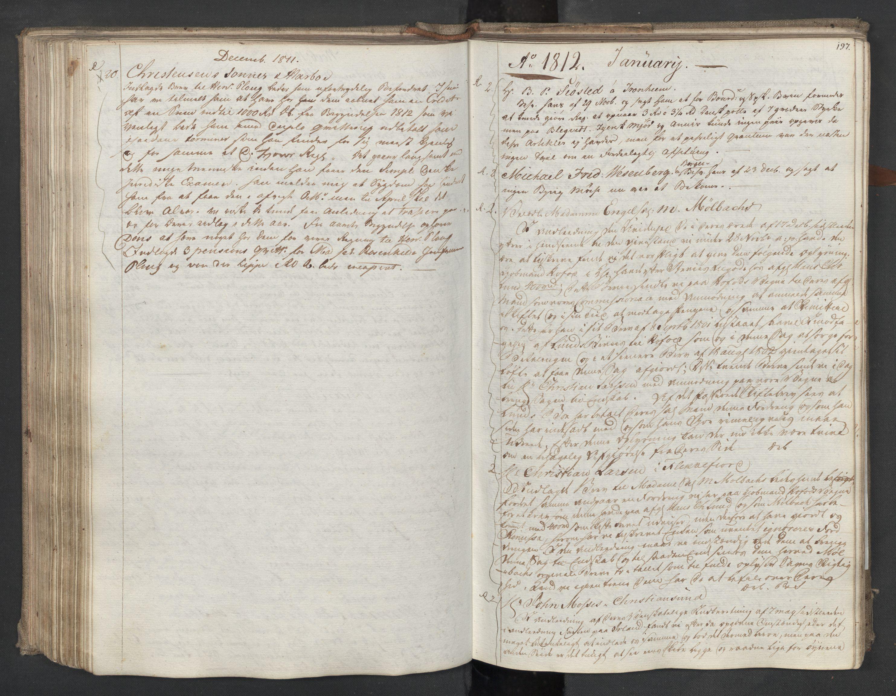 SAST, Pa 0003 - Ploug & Sundt, handelshuset, B/L0009: Kopibok, 1805-1816, s. 196b-197a
