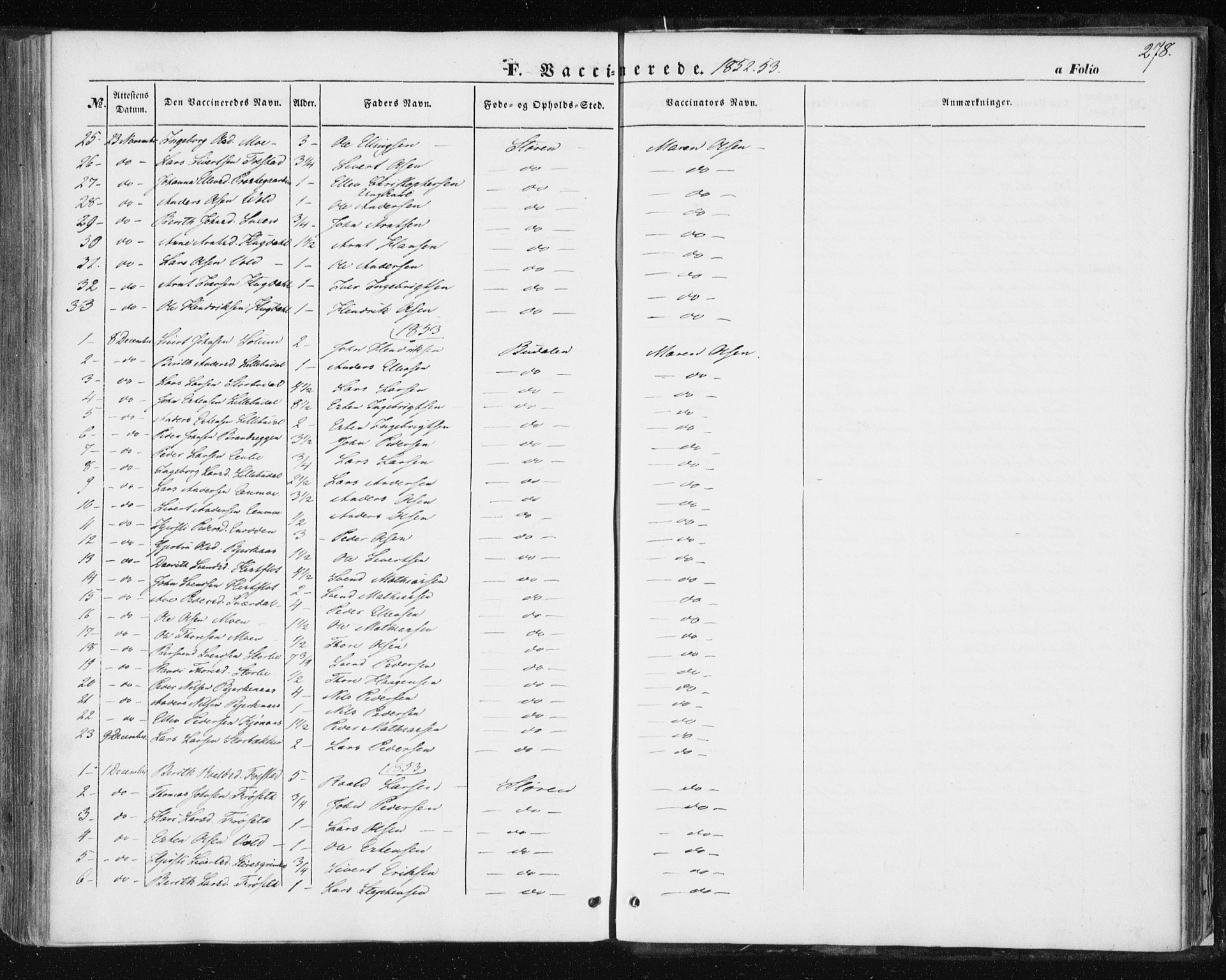 SAT, Ministerialprotokoller, klokkerbøker og fødselsregistre - Sør-Trøndelag, 687/L1000: Ministerialbok nr. 687A06, 1848-1869, s. 278
