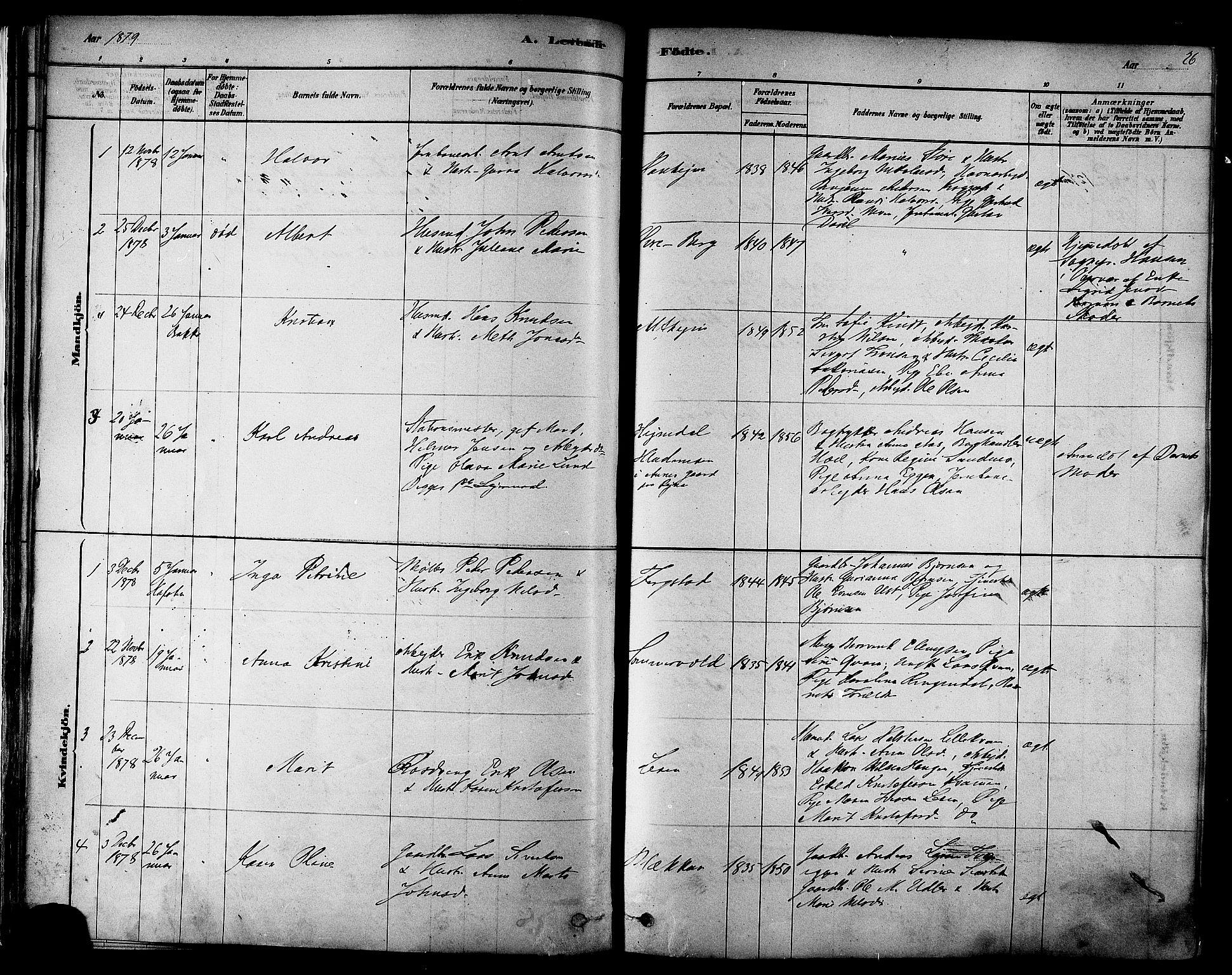 SAT, Ministerialprotokoller, klokkerbøker og fødselsregistre - Sør-Trøndelag, 606/L0294: Ministerialbok nr. 606A09, 1878-1886, s. 26