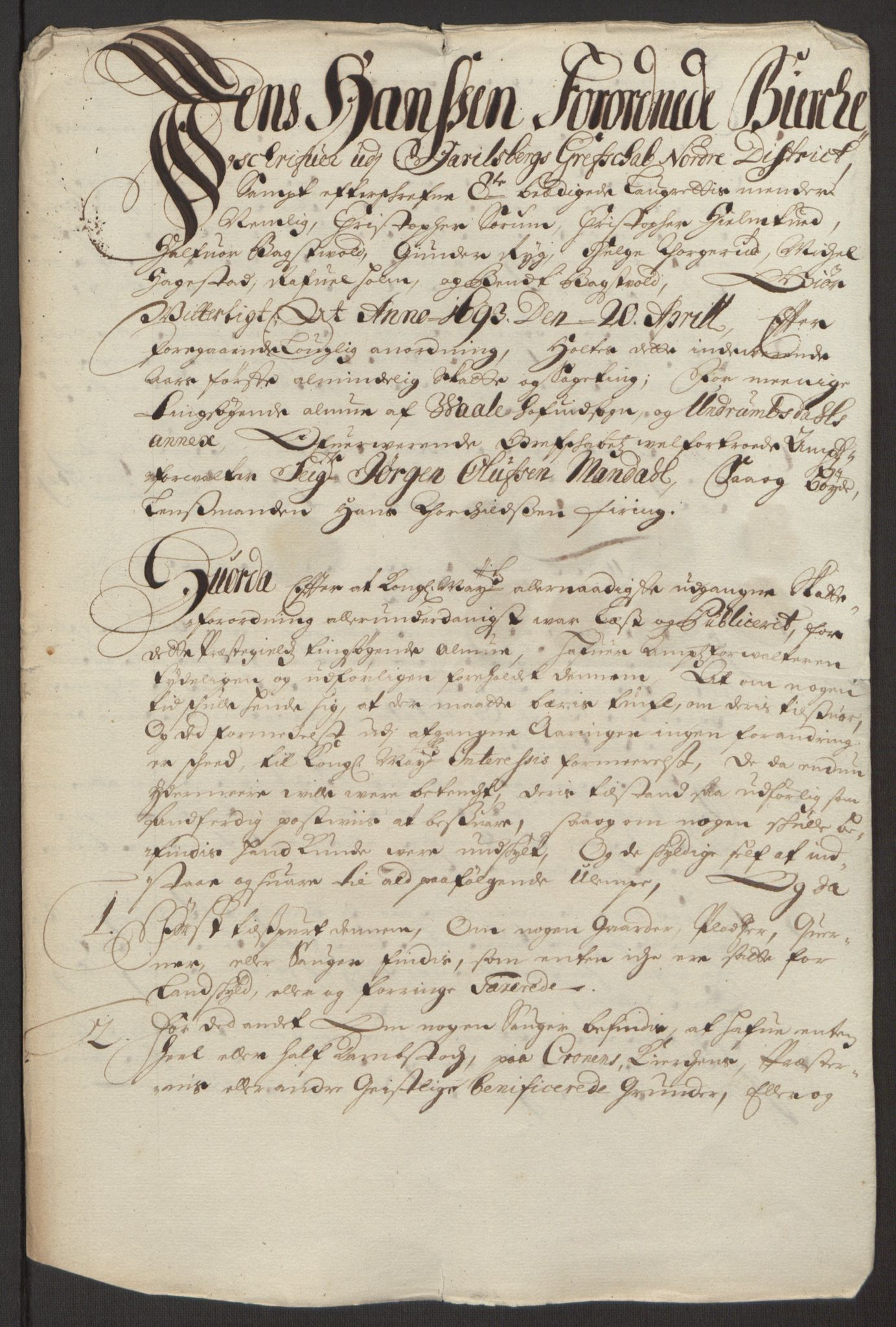 RA, Rentekammeret inntil 1814, Reviderte regnskaper, Fogderegnskap, R32/L1866: Fogderegnskap Jarlsberg grevskap, 1693, s. 388