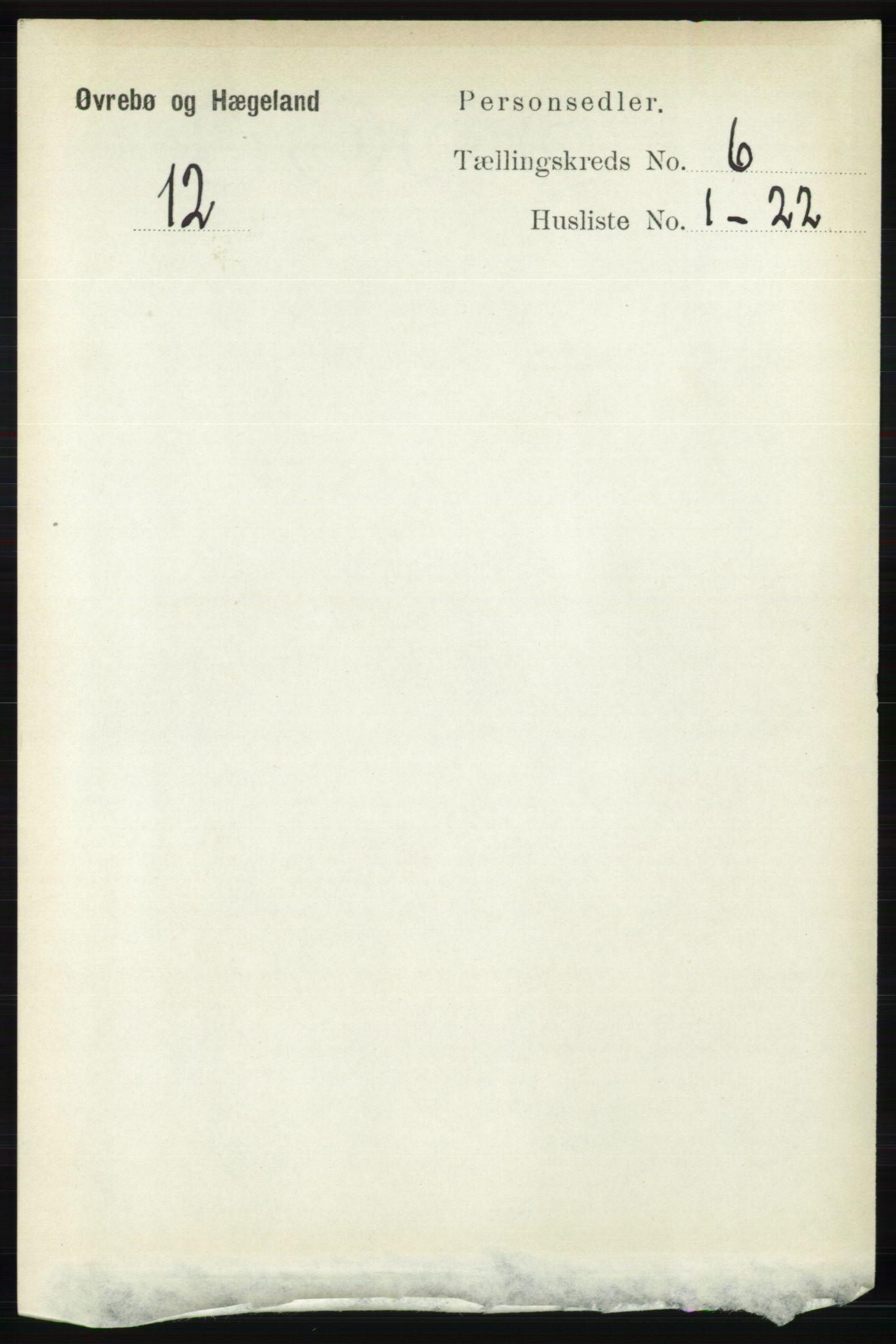 RA, Folketelling 1891 for 1016 Øvrebø og Hægeland herred, 1891, s. 1170