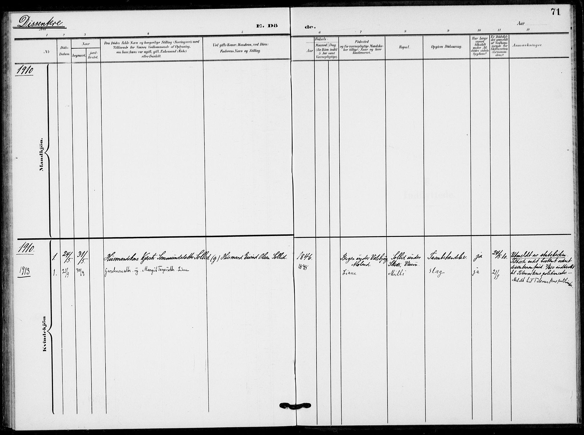 SAKO, Fyresdal kirkebøker, F/Fb/L0004: Ministerialbok nr. II 4, 1903-1920, s. 71