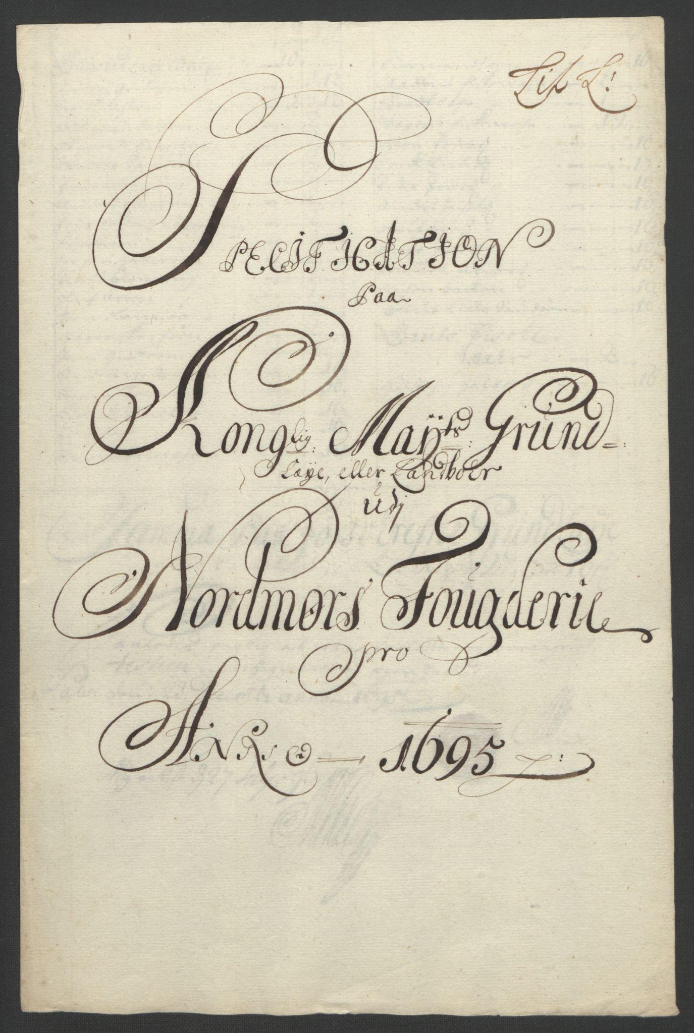 RA, Rentekammeret inntil 1814, Reviderte regnskaper, Fogderegnskap, R56/L3736: Fogderegnskap Nordmøre, 1694-1696, s. 285