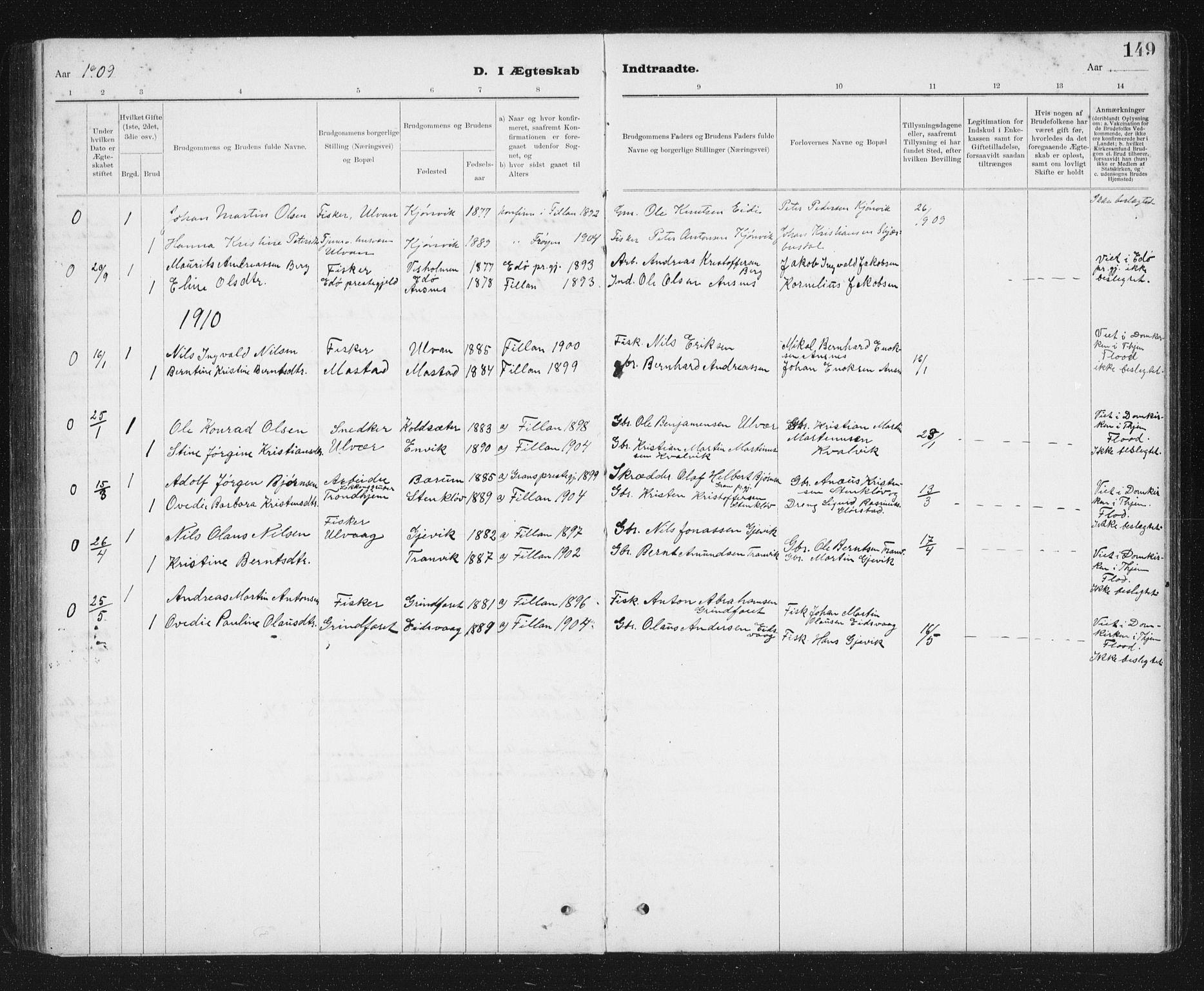 SAT, Ministerialprotokoller, klokkerbøker og fødselsregistre - Sør-Trøndelag, 637/L0563: Klokkerbok nr. 637C04, 1899-1940, s. 149