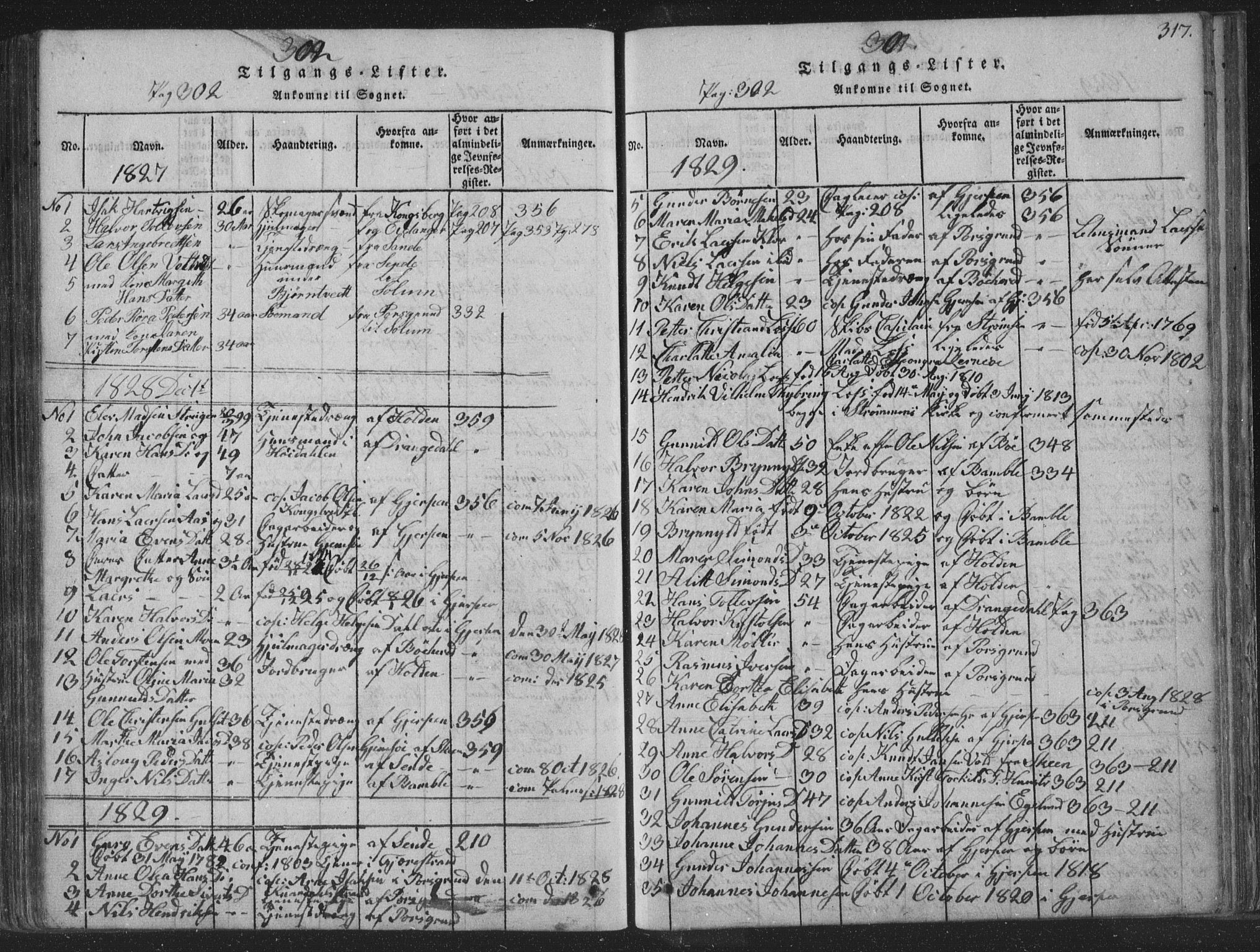 SAKO, Solum kirkebøker, F/Fa/L0004: Ministerialbok nr. I 4, 1814-1833, s. 317