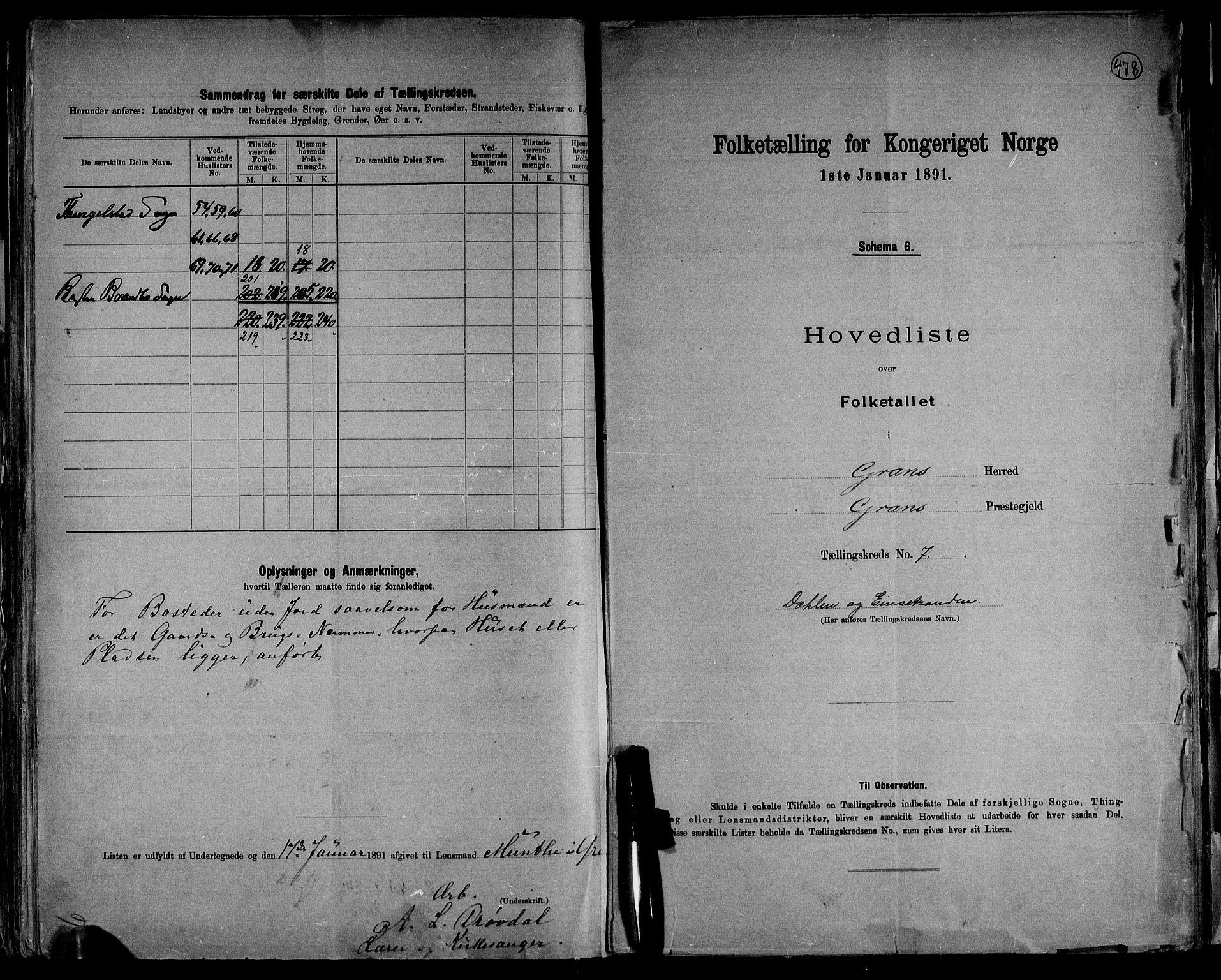 RA, Folketelling 1891 for 0534 Gran herred, 1891, s. 17