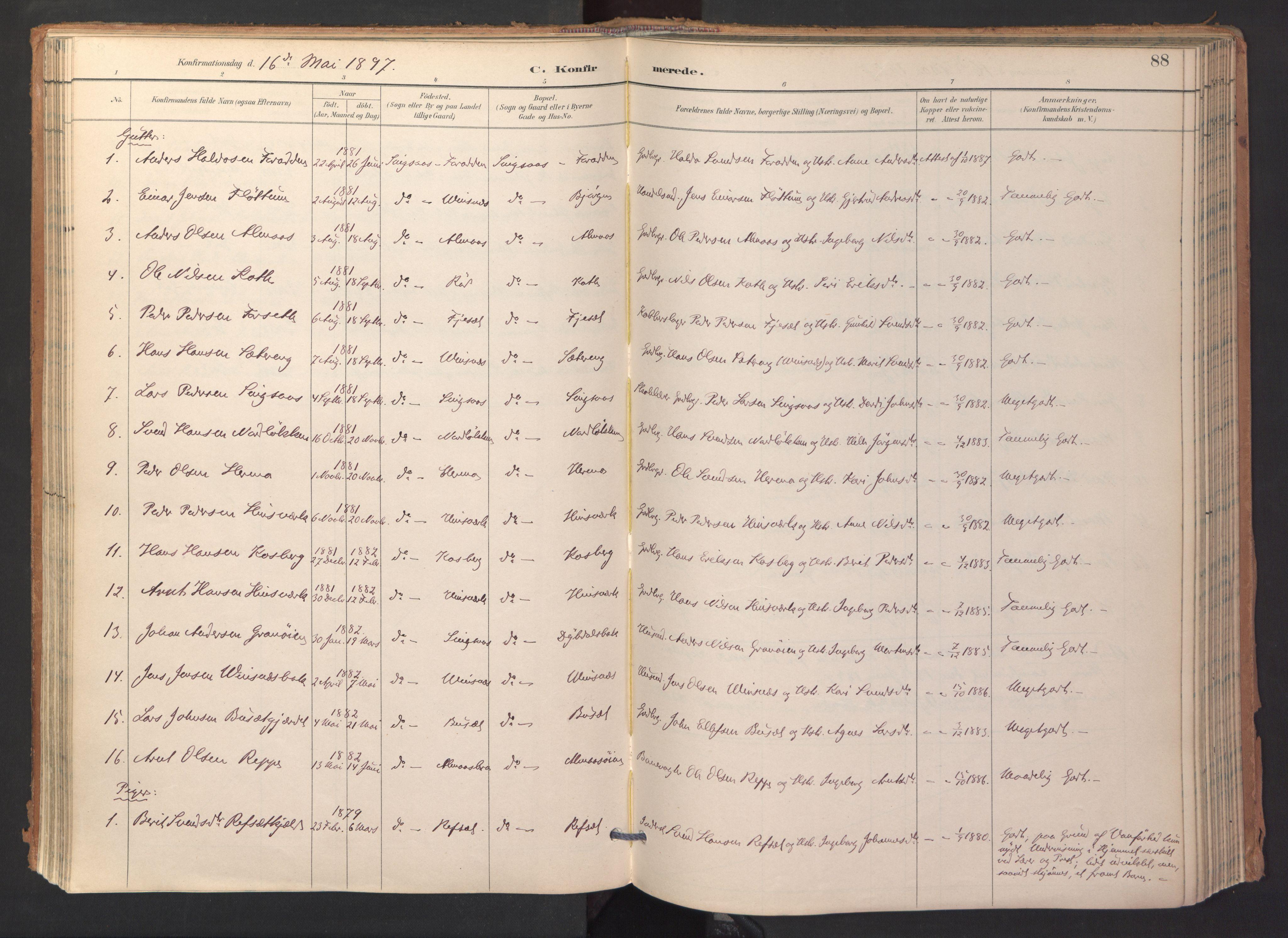 SAT, Ministerialprotokoller, klokkerbøker og fødselsregistre - Sør-Trøndelag, 688/L1025: Ministerialbok nr. 688A02, 1891-1909, s. 88