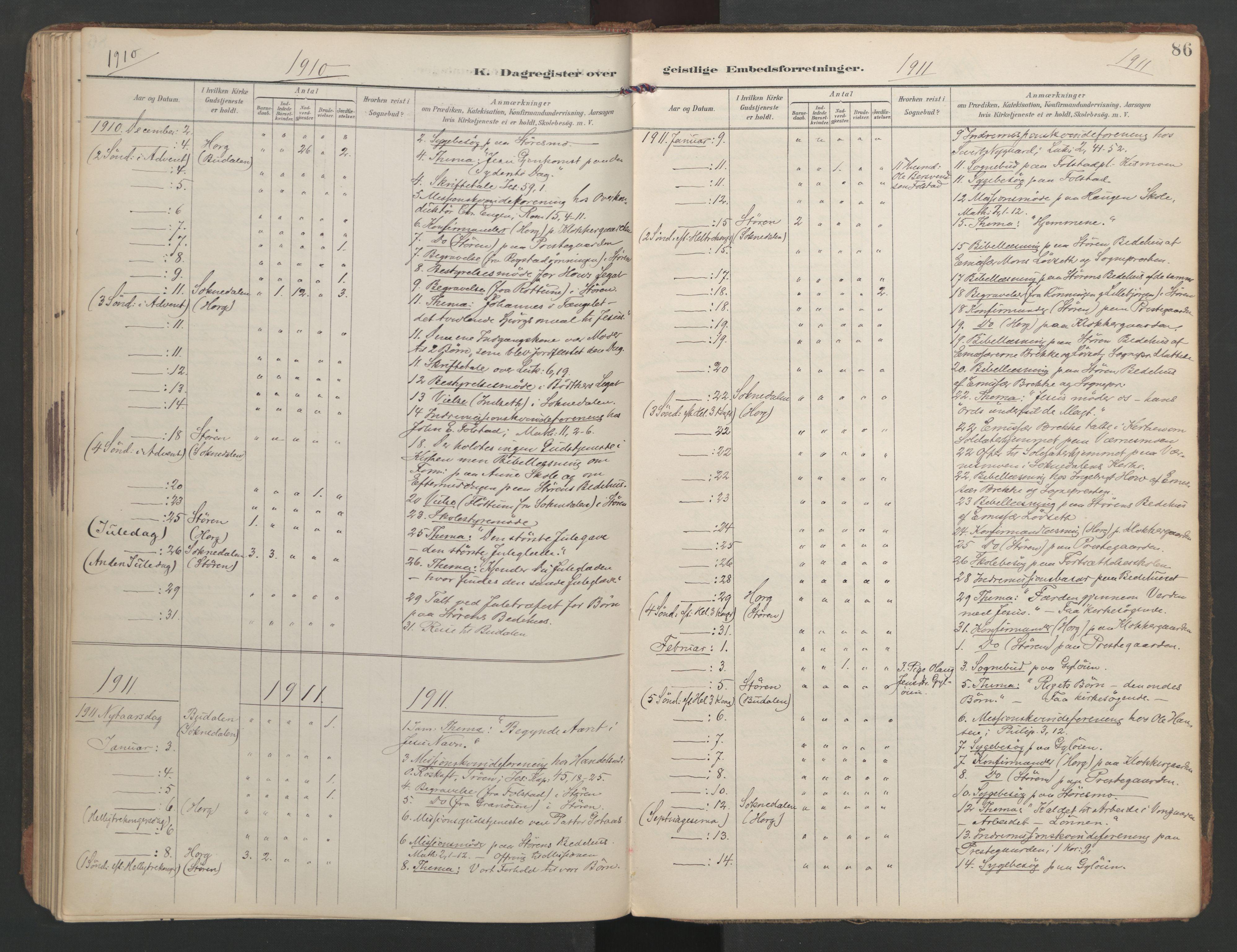 SAT, Ministerialprotokoller, klokkerbøker og fødselsregistre - Sør-Trøndelag, 687/L1005: Dagregister nr. 687A11, 1891-1912, s. 86