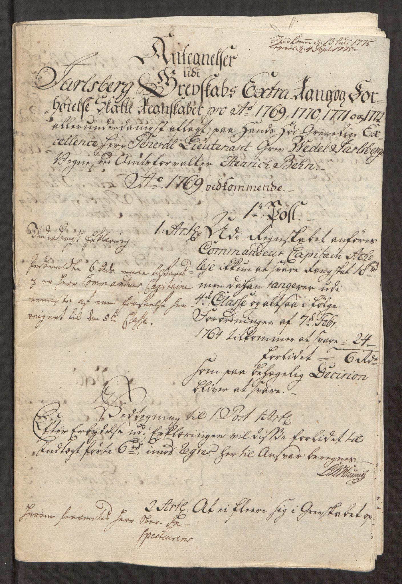 RA, Rentekammeret inntil 1814, Reviderte regnskaper, Fogderegnskap, R32/L1960: Ekstraskatten Jarlsberg grevskap, 1762-1772, s. 235