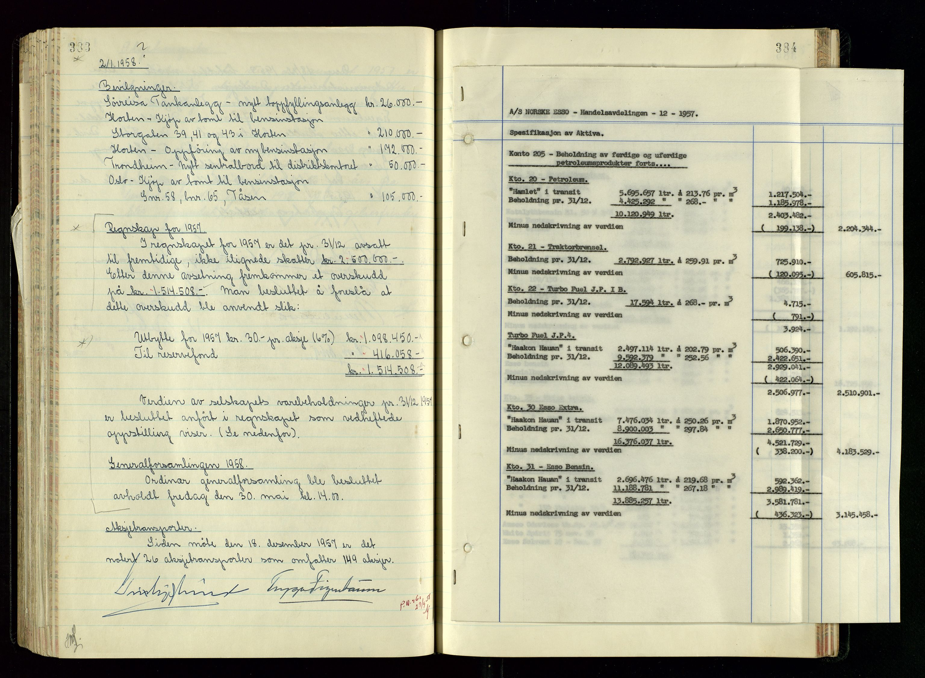 SAST, PA 1534 - Østlandske Petroleumscompagni A/S, A/Aa/L0005: Direksjonsprotokoller, 1943-1958, s. 383-384