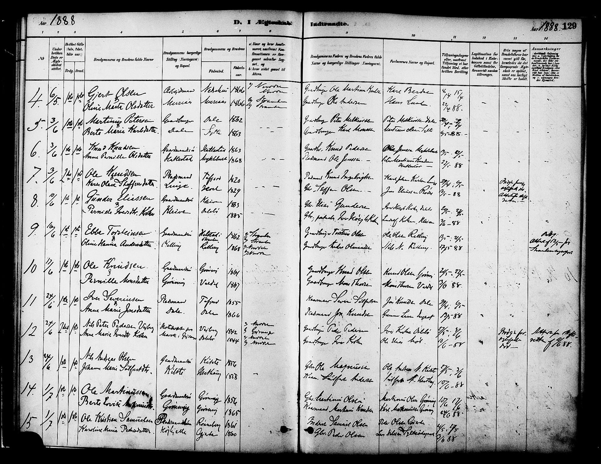 SAT, Ministerialprotokoller, klokkerbøker og fødselsregistre - Møre og Romsdal, 519/L0255: Ministerialbok nr. 519A14, 1884-1908, s. 129