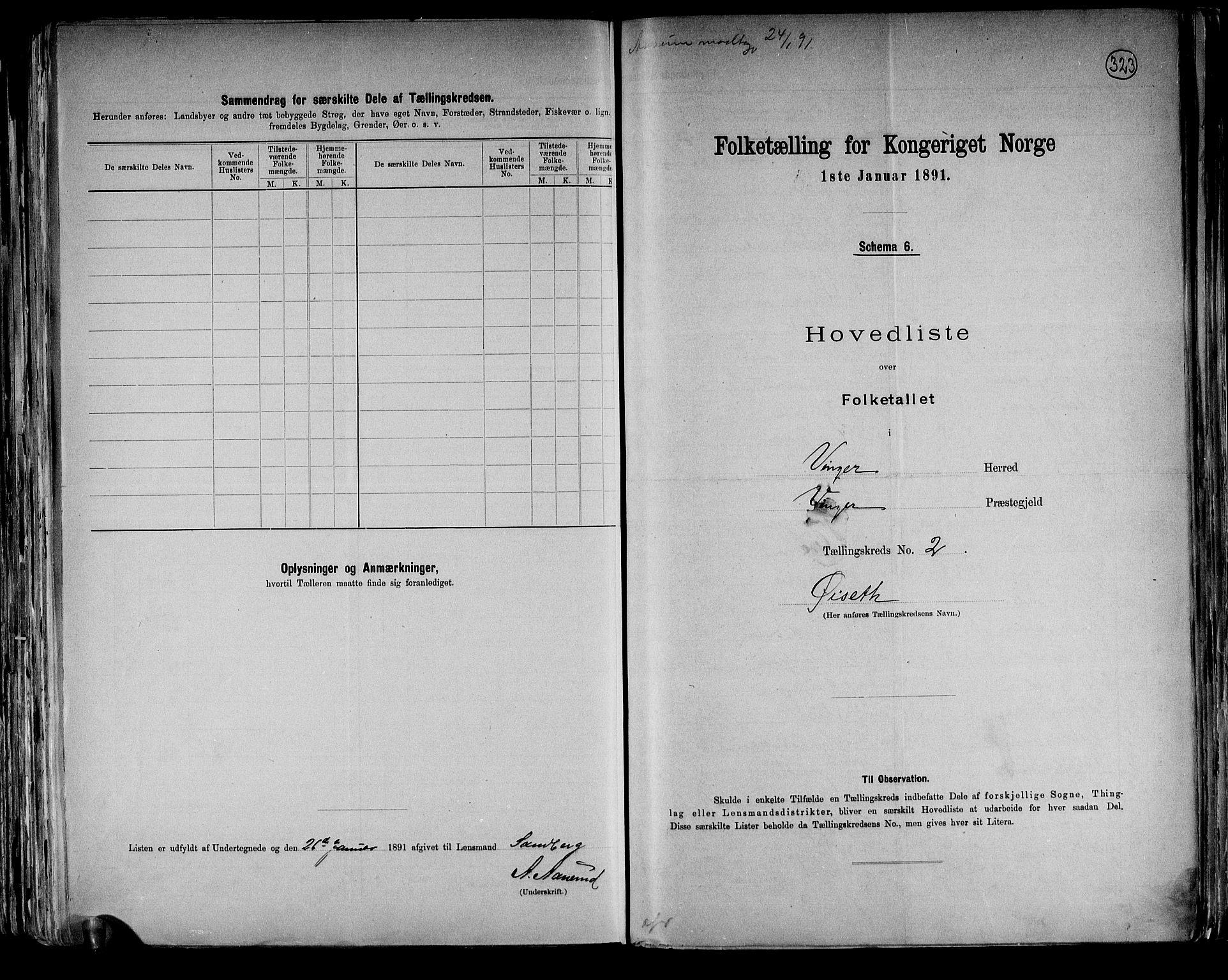 RA, Folketelling 1891 for 0421 Vinger herred, 1891, s. 6