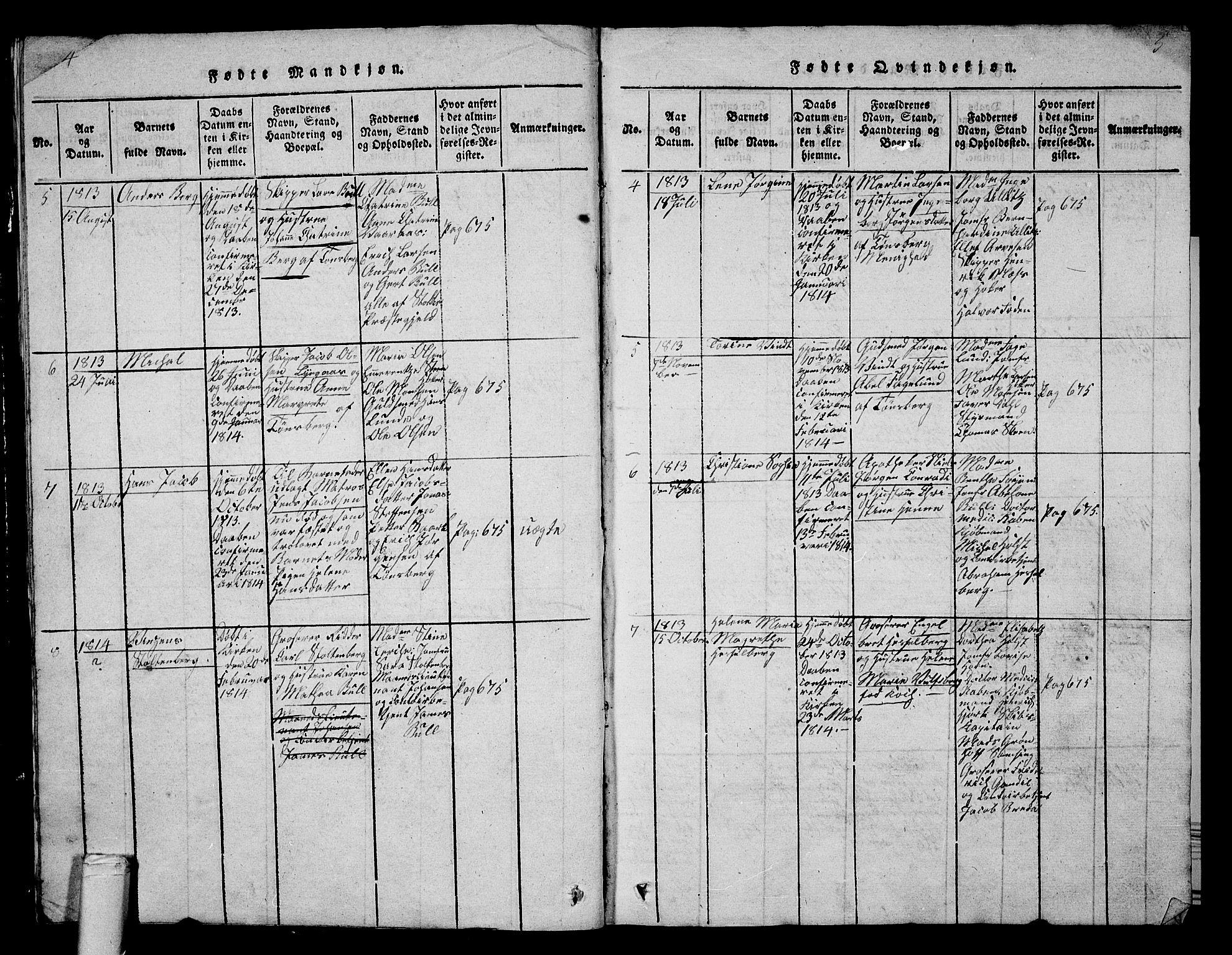 SAKO, Tønsberg kirkebøker, G/Ga/L0001: Klokkerbok nr. 1, 1813-1826, s. 4-5