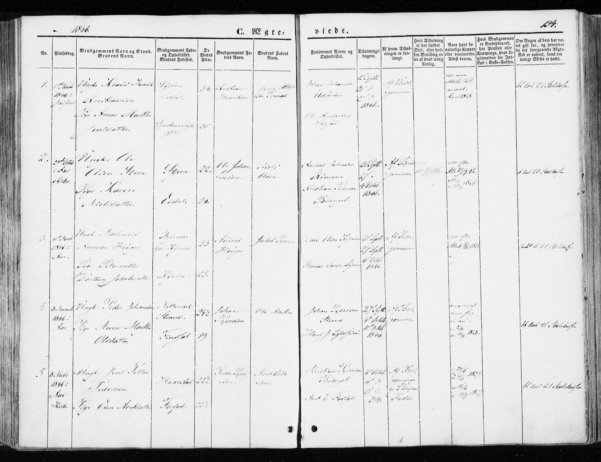 SAT, Ministerialprotokoller, klokkerbøker og fødselsregistre - Sør-Trøndelag, 655/L0677: Ministerialbok nr. 655A06, 1847-1860, s. 134