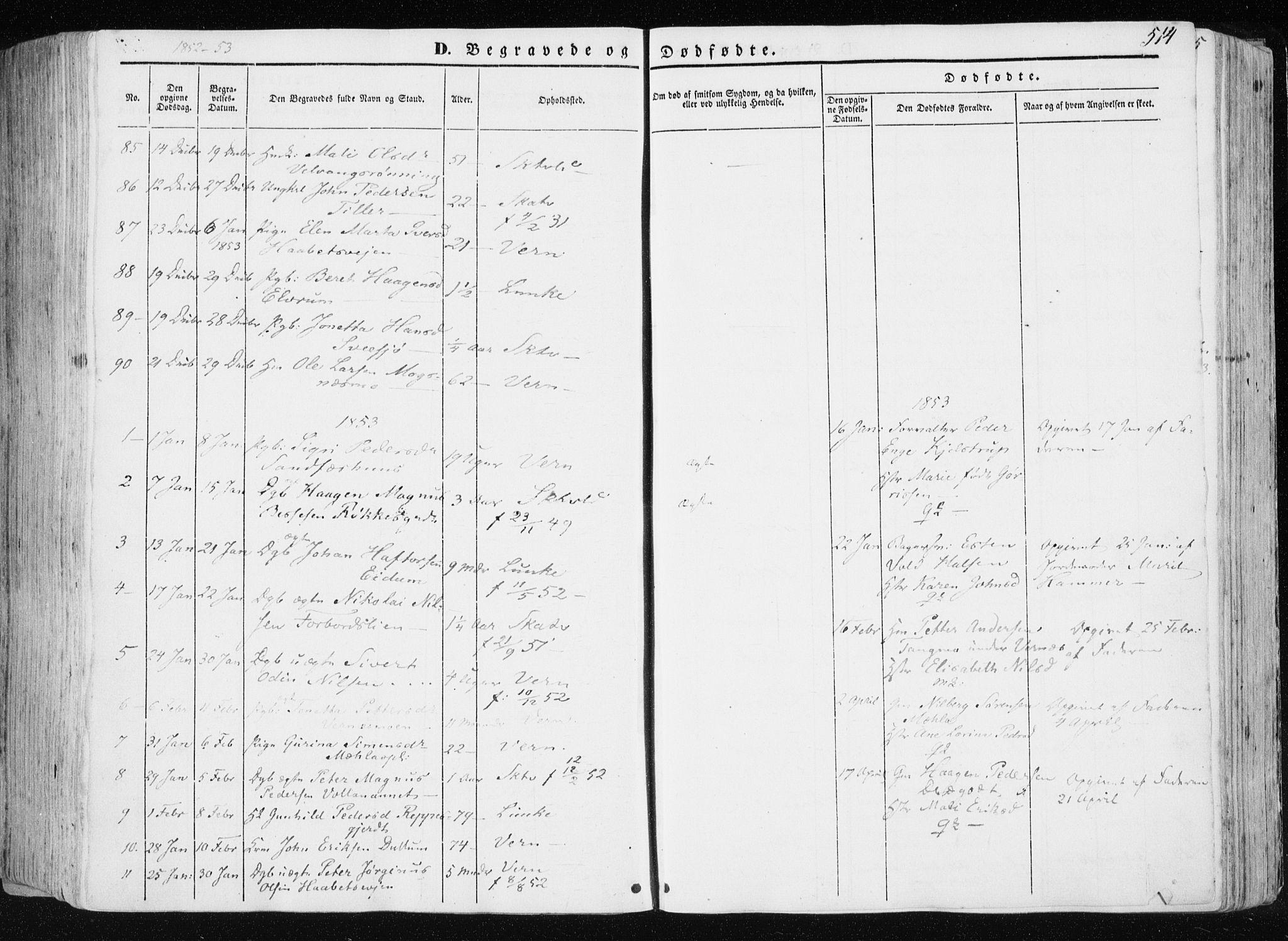 SAT, Ministerialprotokoller, klokkerbøker og fødselsregistre - Nord-Trøndelag, 709/L0074: Ministerialbok nr. 709A14, 1845-1858, s. 514