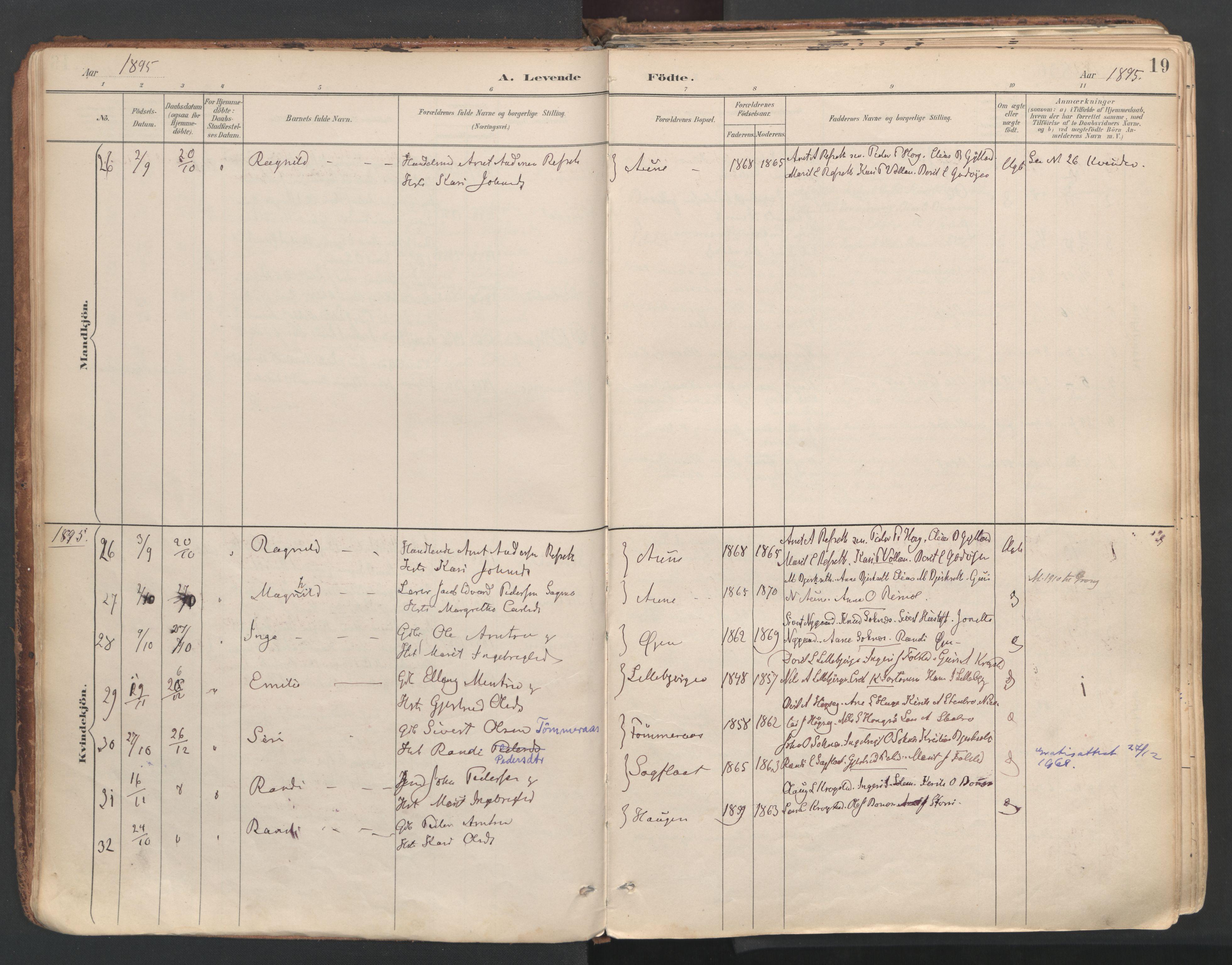 SAT, Ministerialprotokoller, klokkerbøker og fødselsregistre - Sør-Trøndelag, 687/L1004: Ministerialbok nr. 687A10, 1891-1923, s. 19