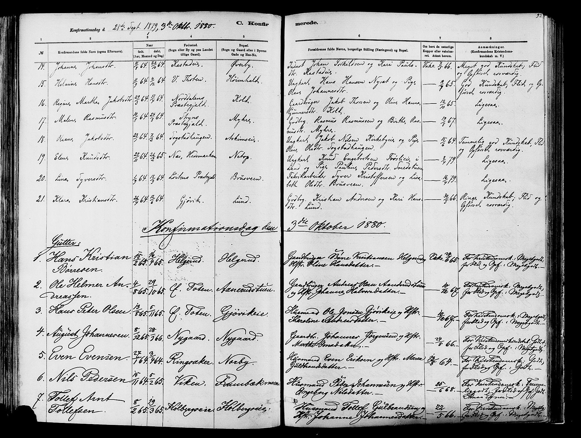 SAH, Vardal prestekontor, H/Ha/Haa/L0009: Ministerialbok nr. 9, 1878-1892, s. 93
