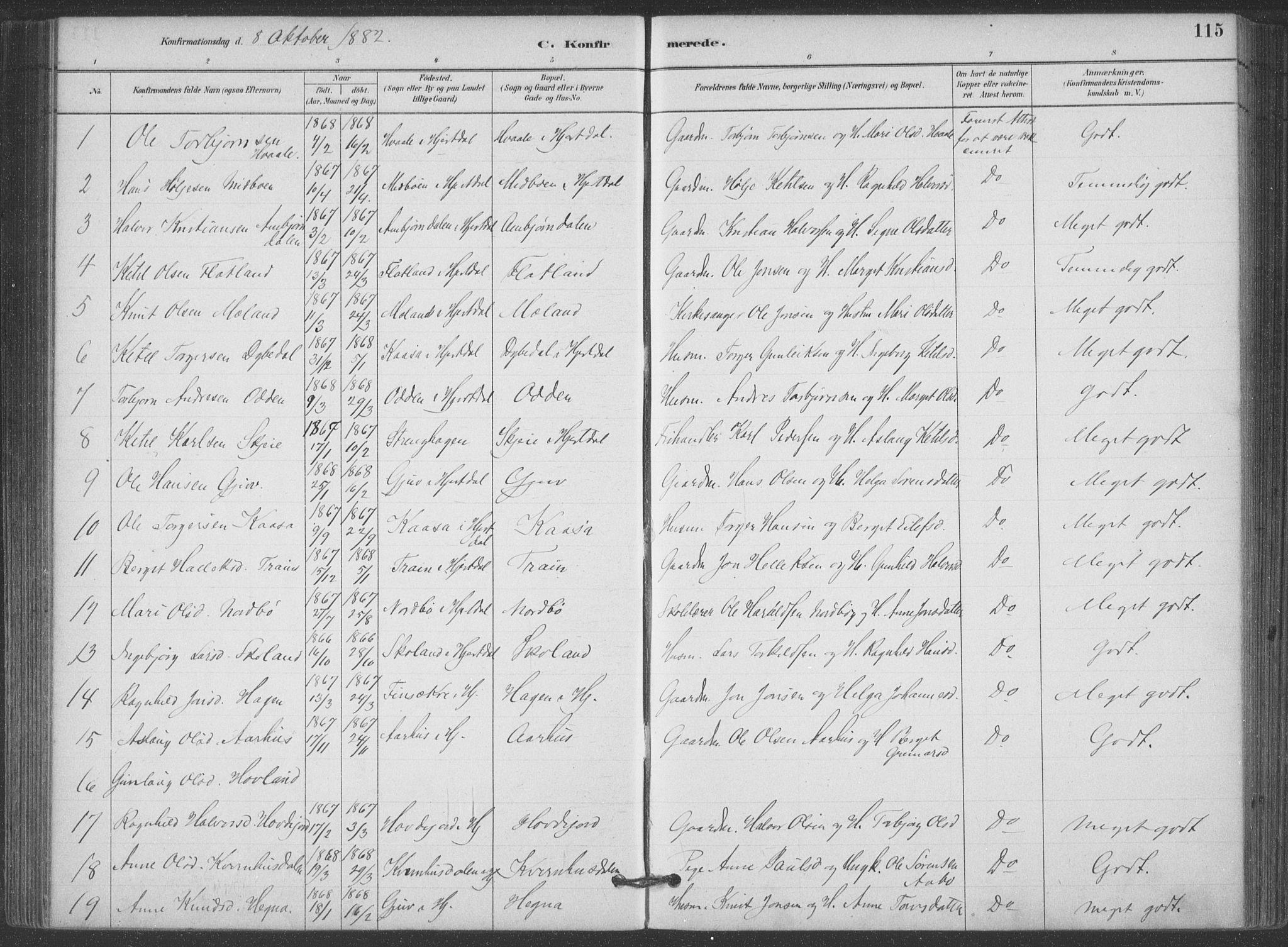 SAKO, Hjartdal kirkebøker, F/Fa/L0010: Ministerialbok nr. I 10, 1880-1929, s. 115