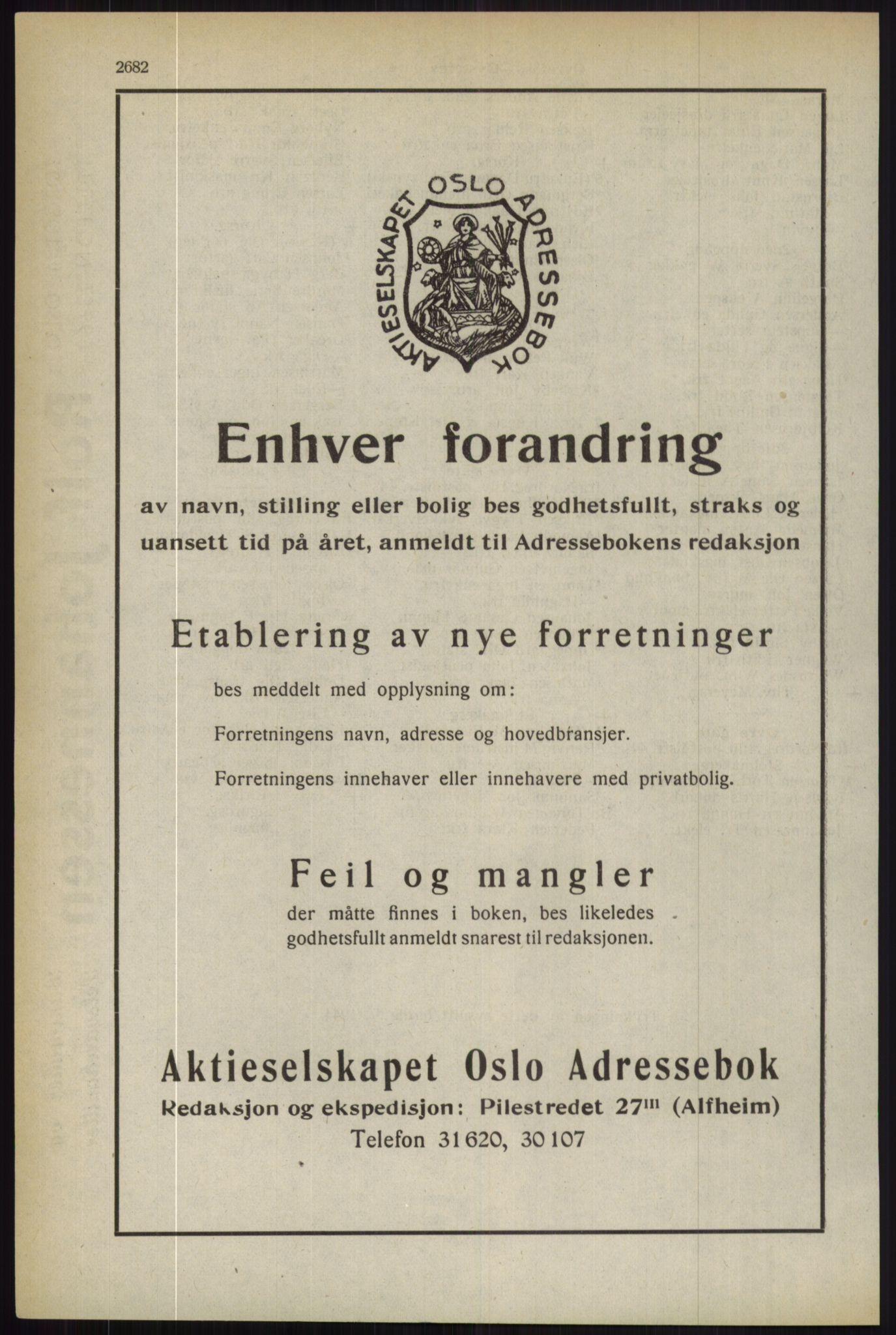 RA, Oslo adressebok (publikasjon)*, 1944, s. 2682